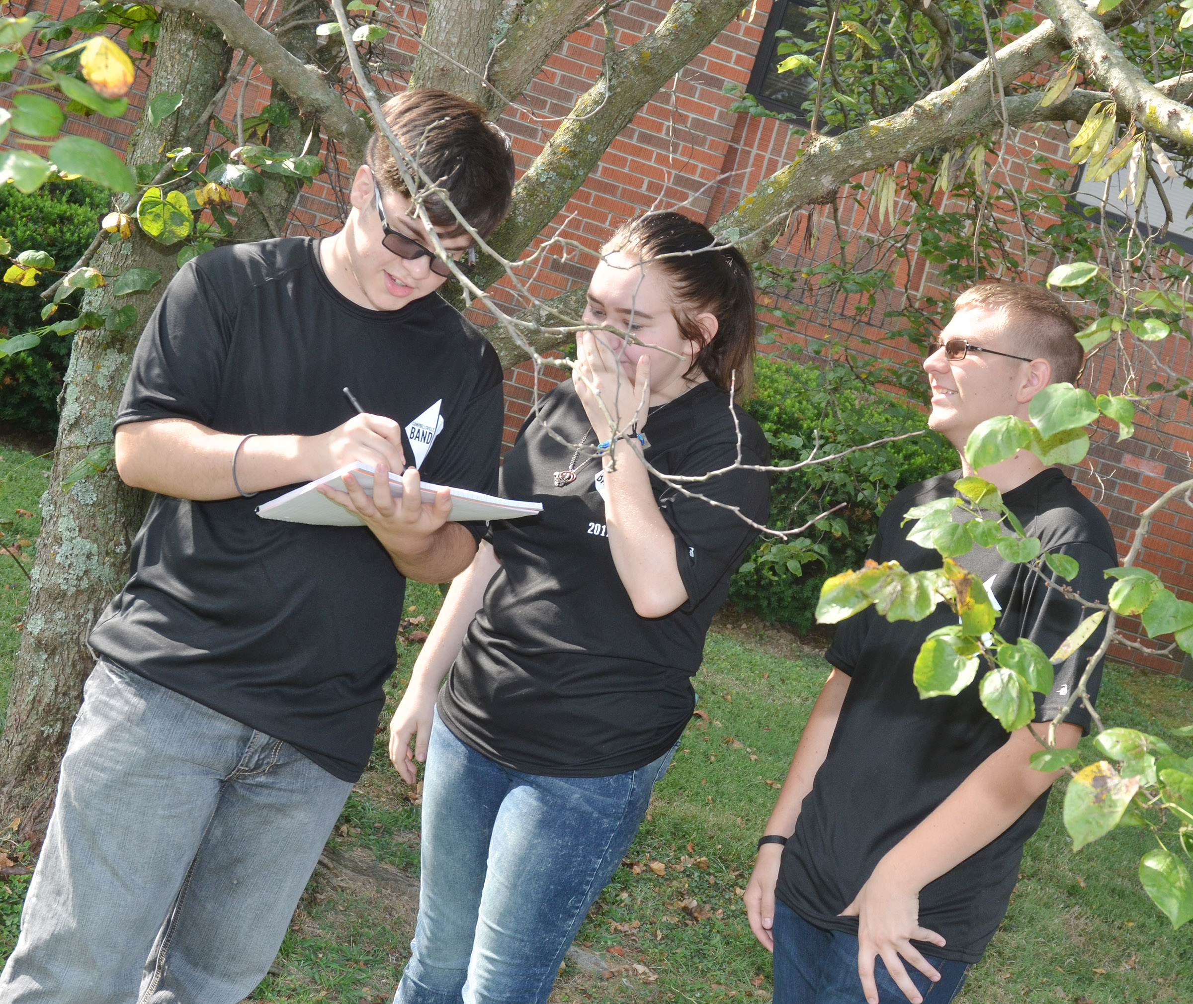 From left, CHS juniors Kyler Rakes, Leslie McKenzie and Brandon Greer work together to describe their surroundings as they study the concept of contextualization.