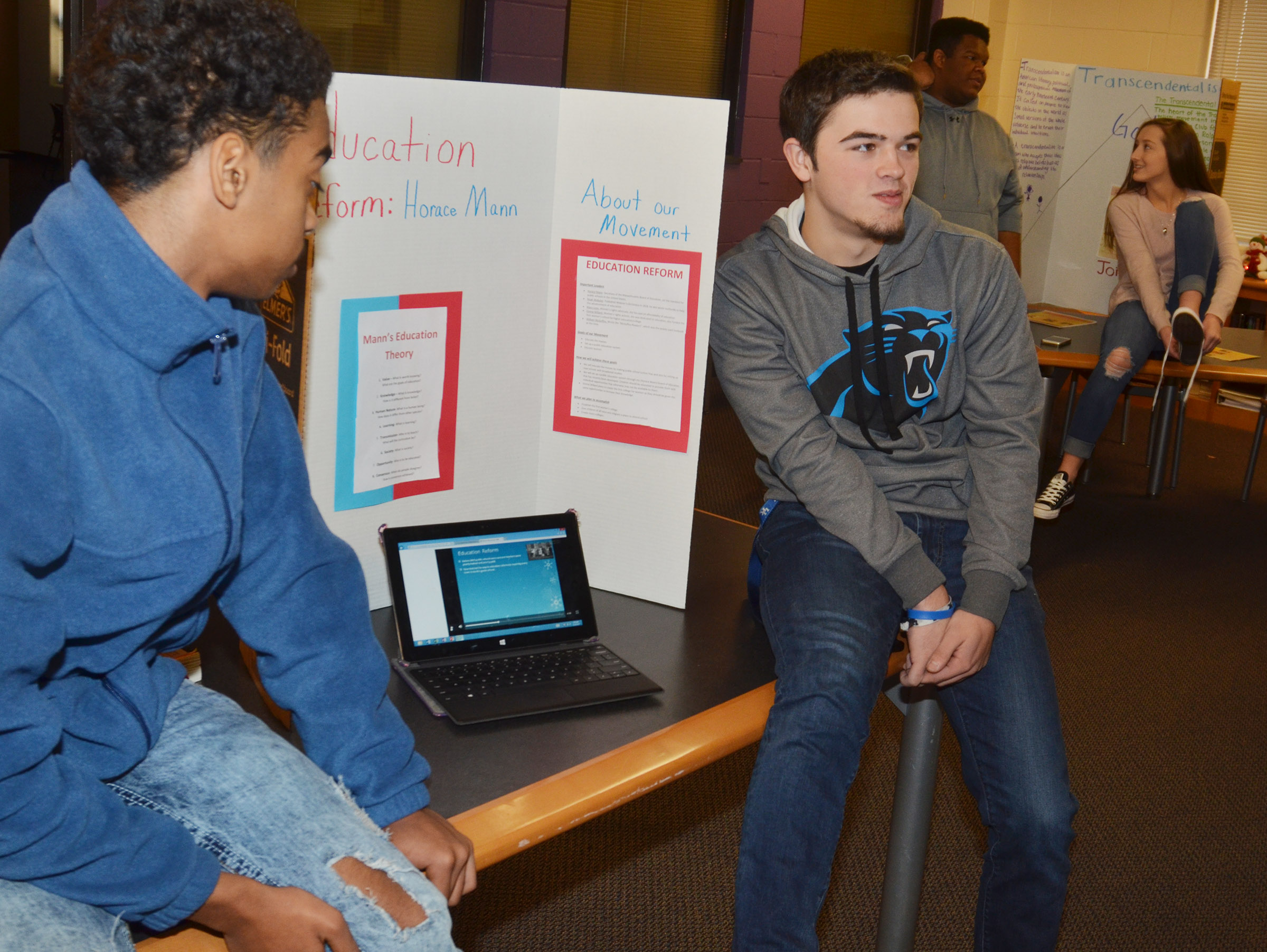 CHS juniors Davon Cecil, at left, and Ryan Kearney present.