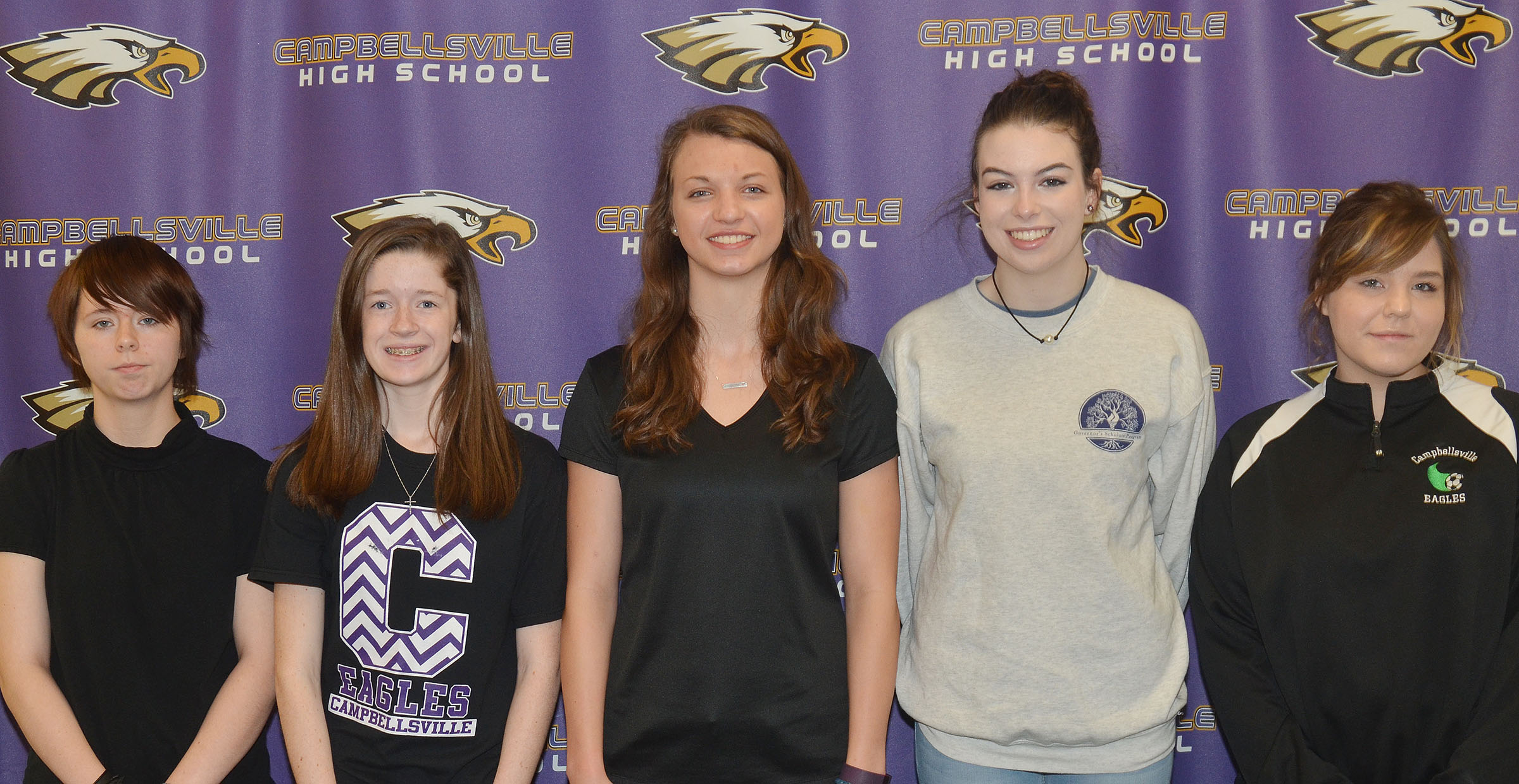 From left, CHS sophomore Christina Phipps, freshman Gracyne Hash, seniors Caylie Blair and Laura Lamb and junior Sara Farmer have advanced to compete at the state STLP competition next month.