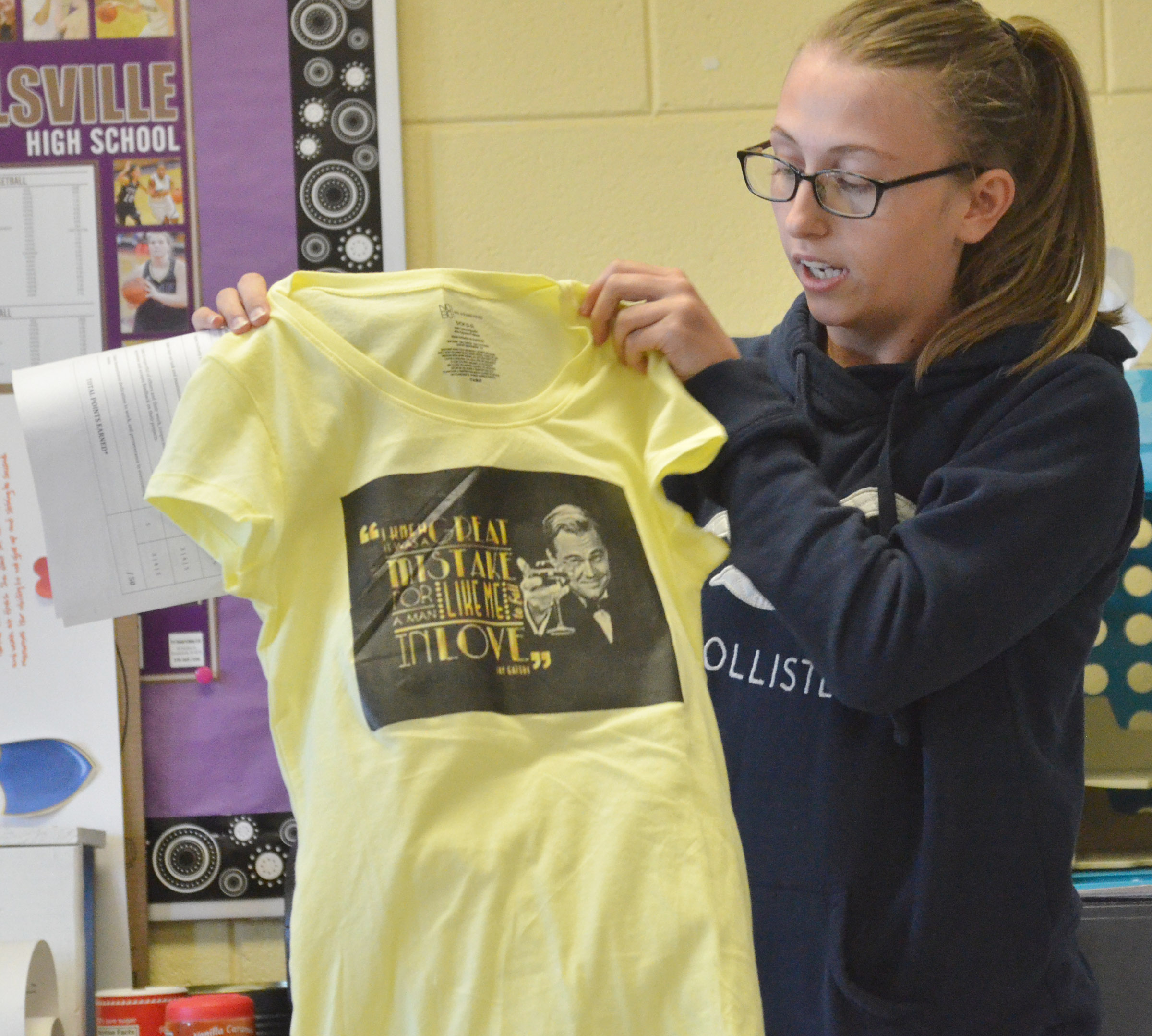 "CHS junior Brookelyn Franklin made this t-shirt based on the book ""The Great Gatsby."""