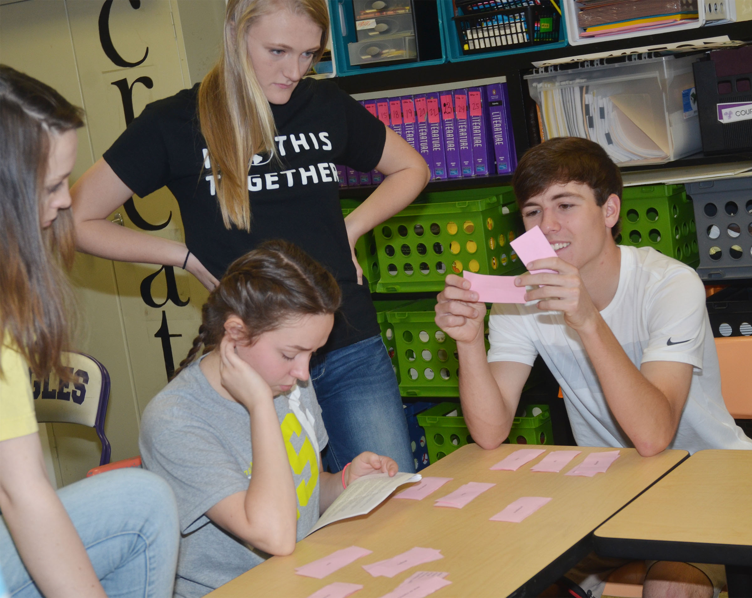 CHS sophomores, from left, Caleigh Bright, Christa Riggs, Abbie Dicken and Layton Hord work to pair their poetry terms with the definitions.