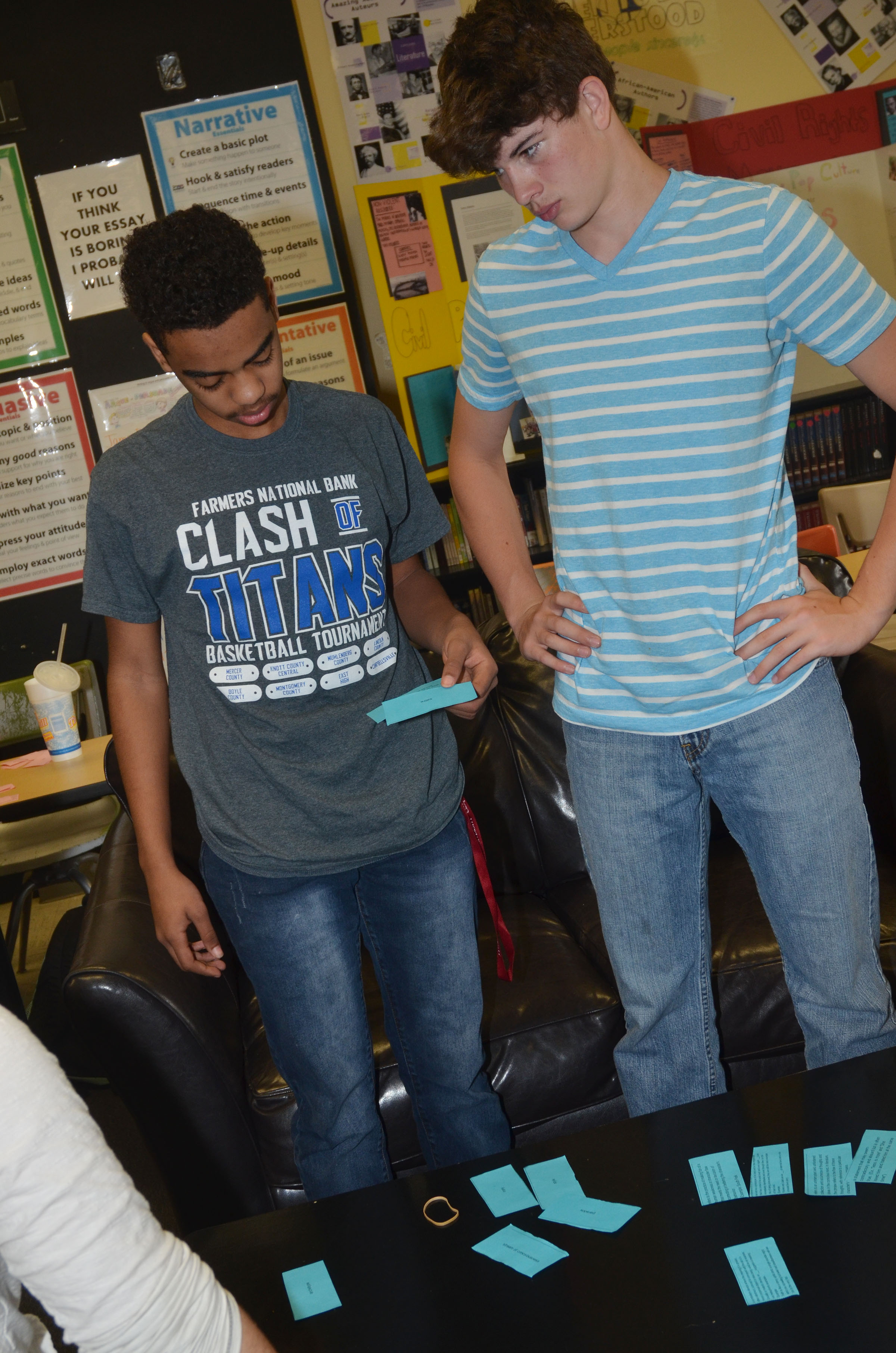CHS sophomores Davon Cecil, at left, and Mark Rigsby work to match their poetry terms with the definitions.