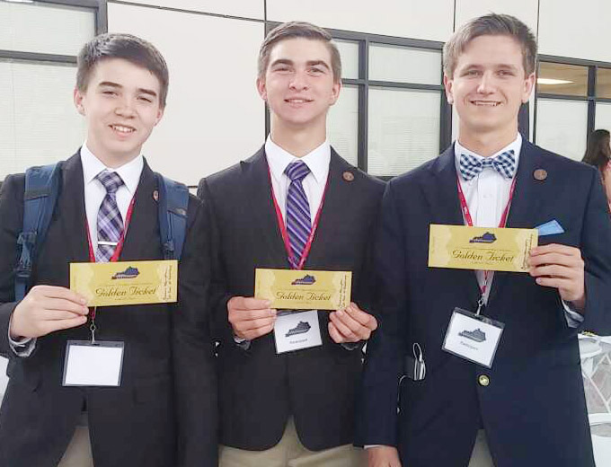 On Tuesday, April 11, from left, CHS freshman Cole Kidwell, junior Cass Kidwell and sophomore Myles Murrell won the Lt. Governor's Entrepreneurship Challenge and now advance to state competition.