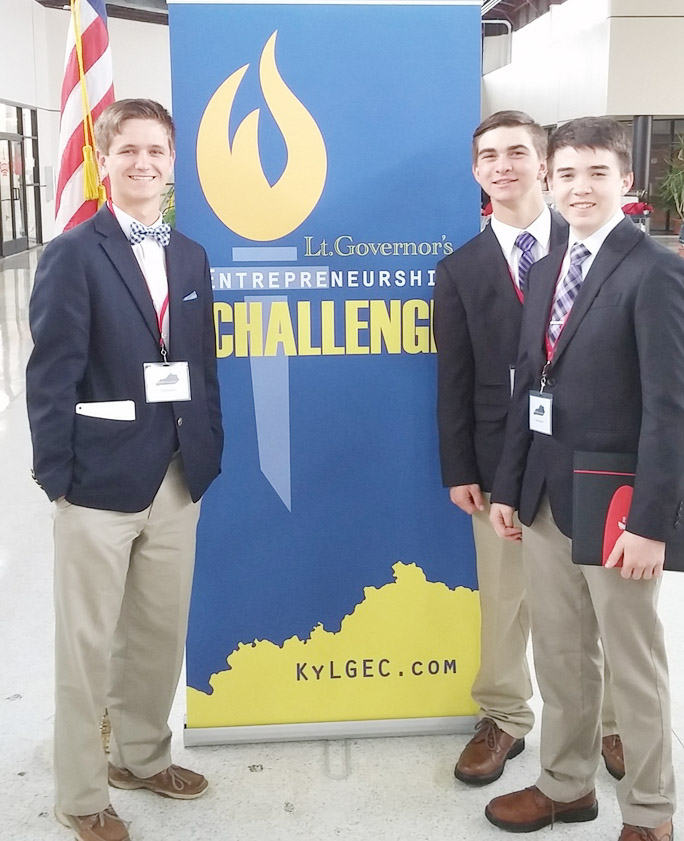 On Tuesday, April 11, from left, CHS sophomore Myles Murrell, junior Cass Kidwell and freshman Cole Kidwell won the Lt. Governor's Entrepreneurship Challenge and now advance to state competition.
