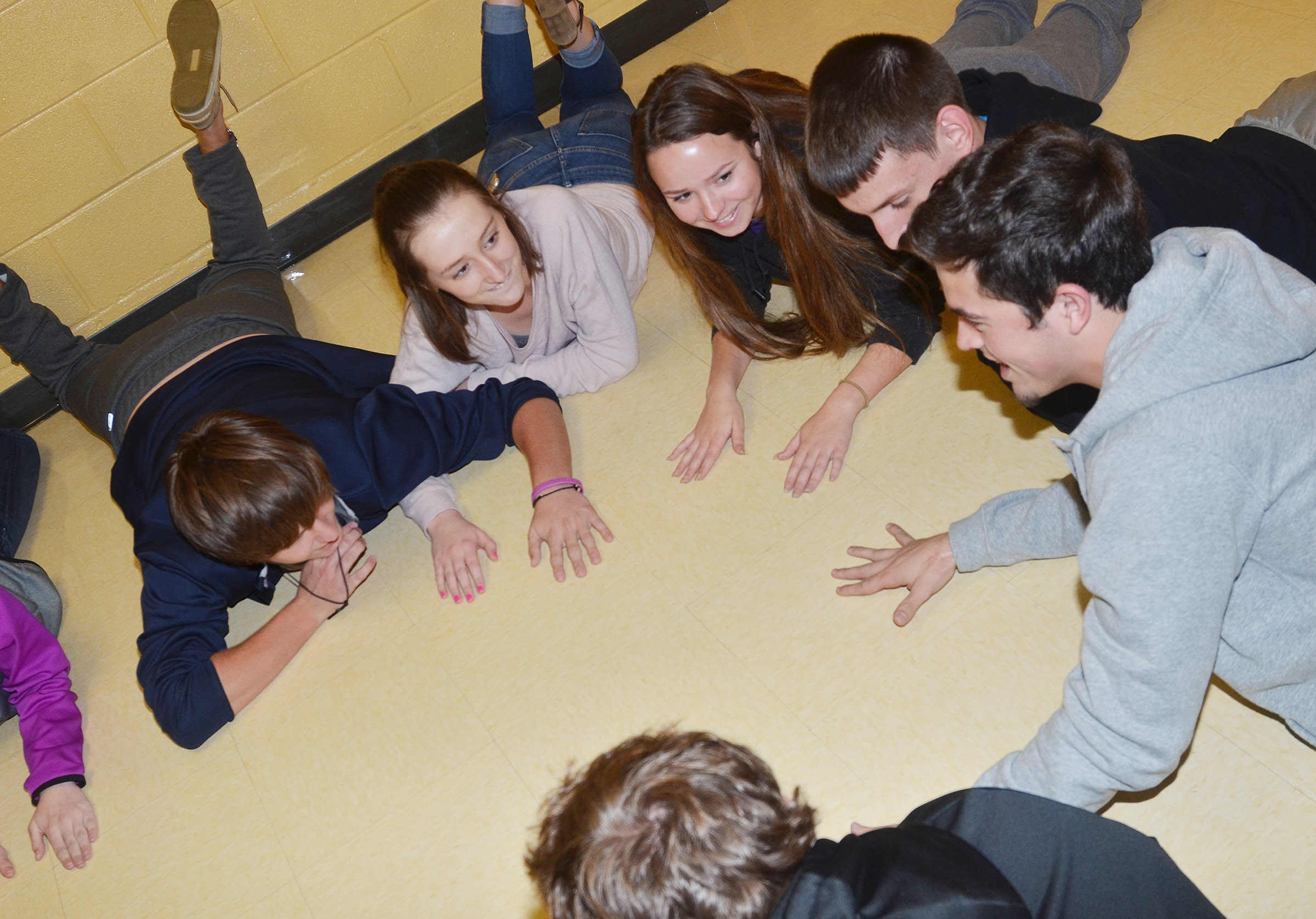 CHS FCA members, clockwise from left, junior Myles Murrell, Samantha Mason, Christa Riggs, Evan McAninch, Ryan Kearney and Lane Bottoms play a concentration icebreaker game.