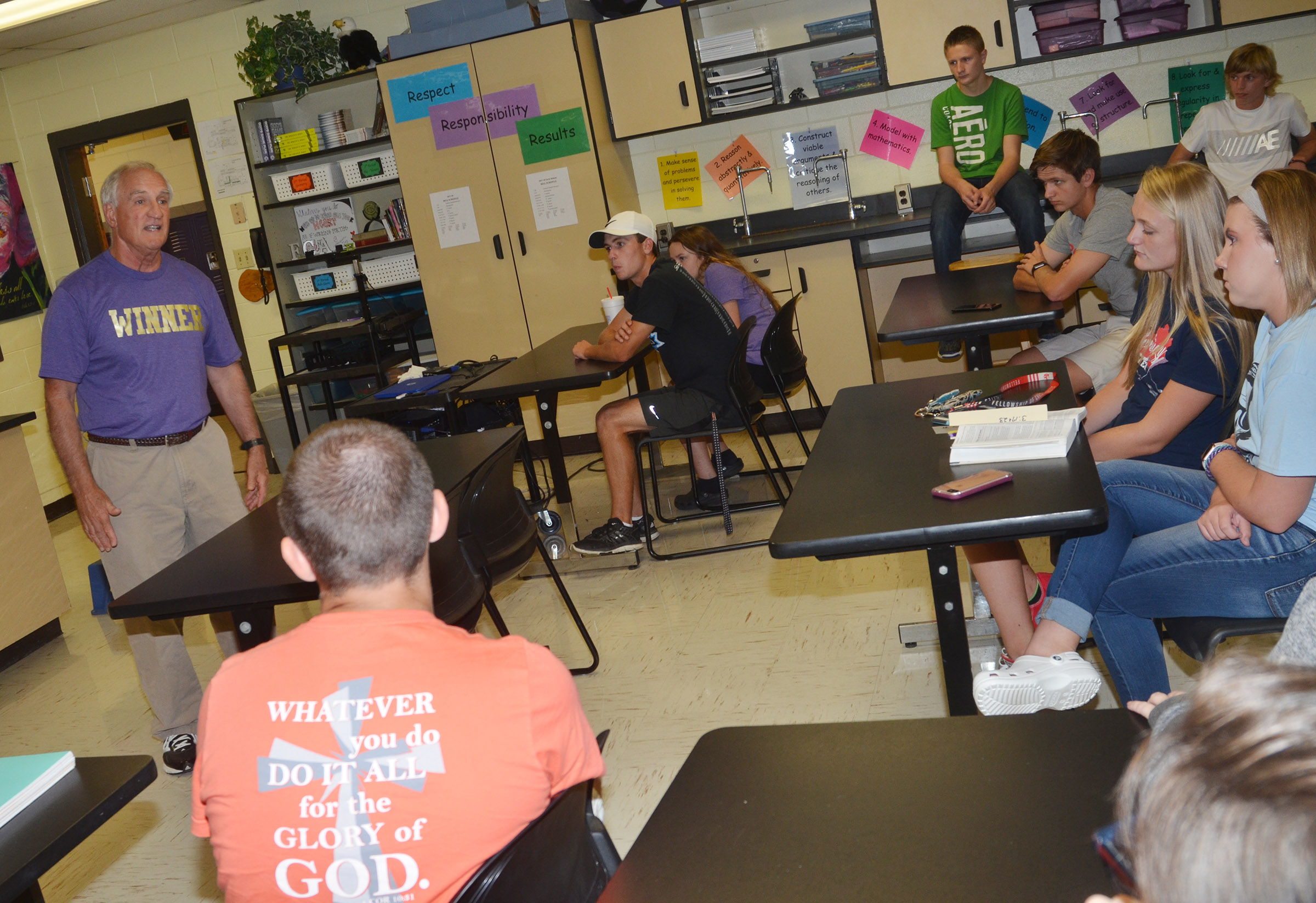 Haywood Riner talks to CHS FCA members about the importance of being a winner – in life, academics, athletics and faith.