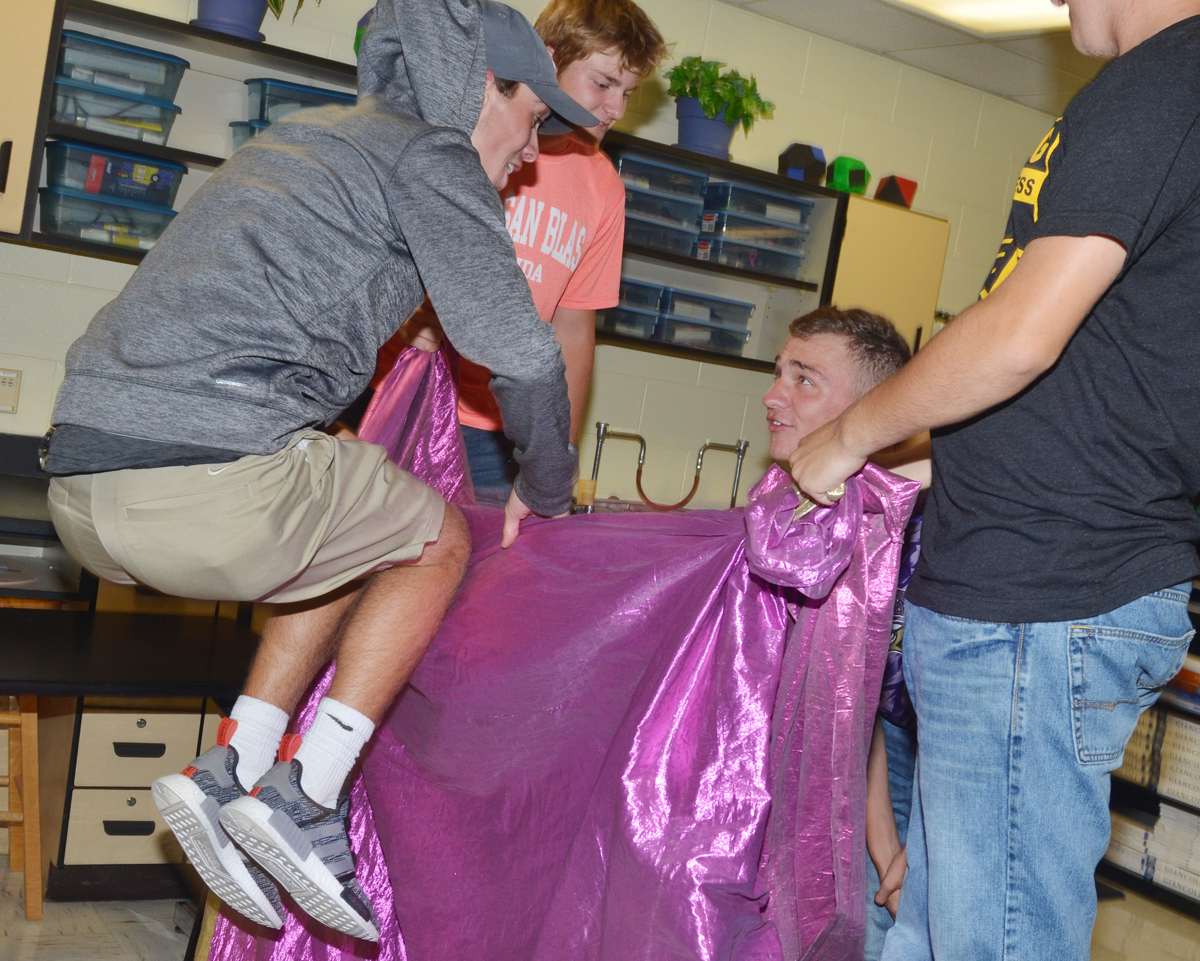 CHS junior Layton Hord, at left, and senior Connor Wilson play the behind the curtain game.