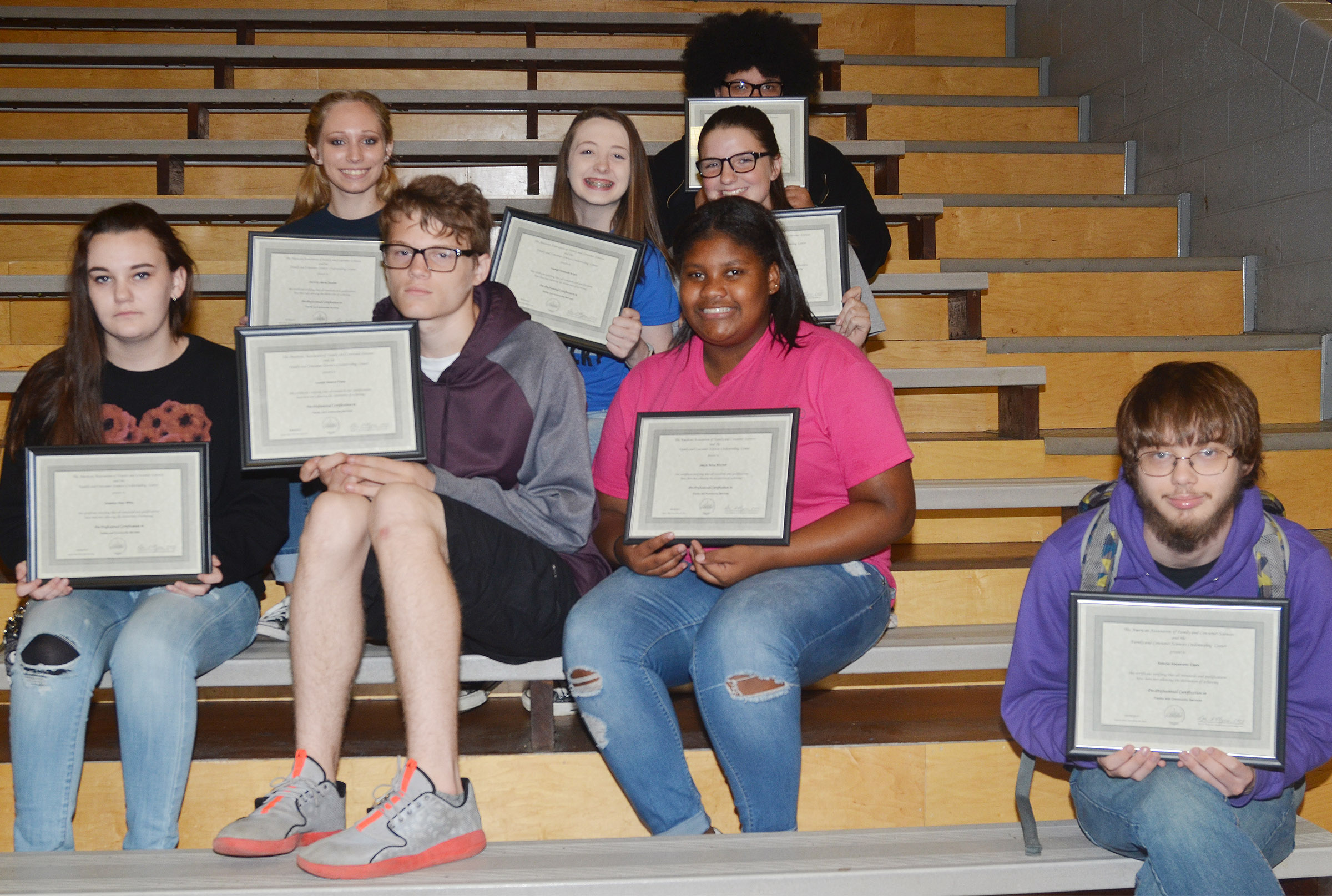 CHS students who completed family and consumer sciences industry certification this school year include, from left, front, junior Chazilyn Milby, sophomore Joe Pipes, freshman Jakyia Mitchell and senior Gabriel Clark. Second row, junior Jasmine Coomer, sophomore Caleigh Bright and freshman Sydney Wilson. Back, sophomore Jaylah Tucker. Absent from the photo is senior Kayla Atkinson.