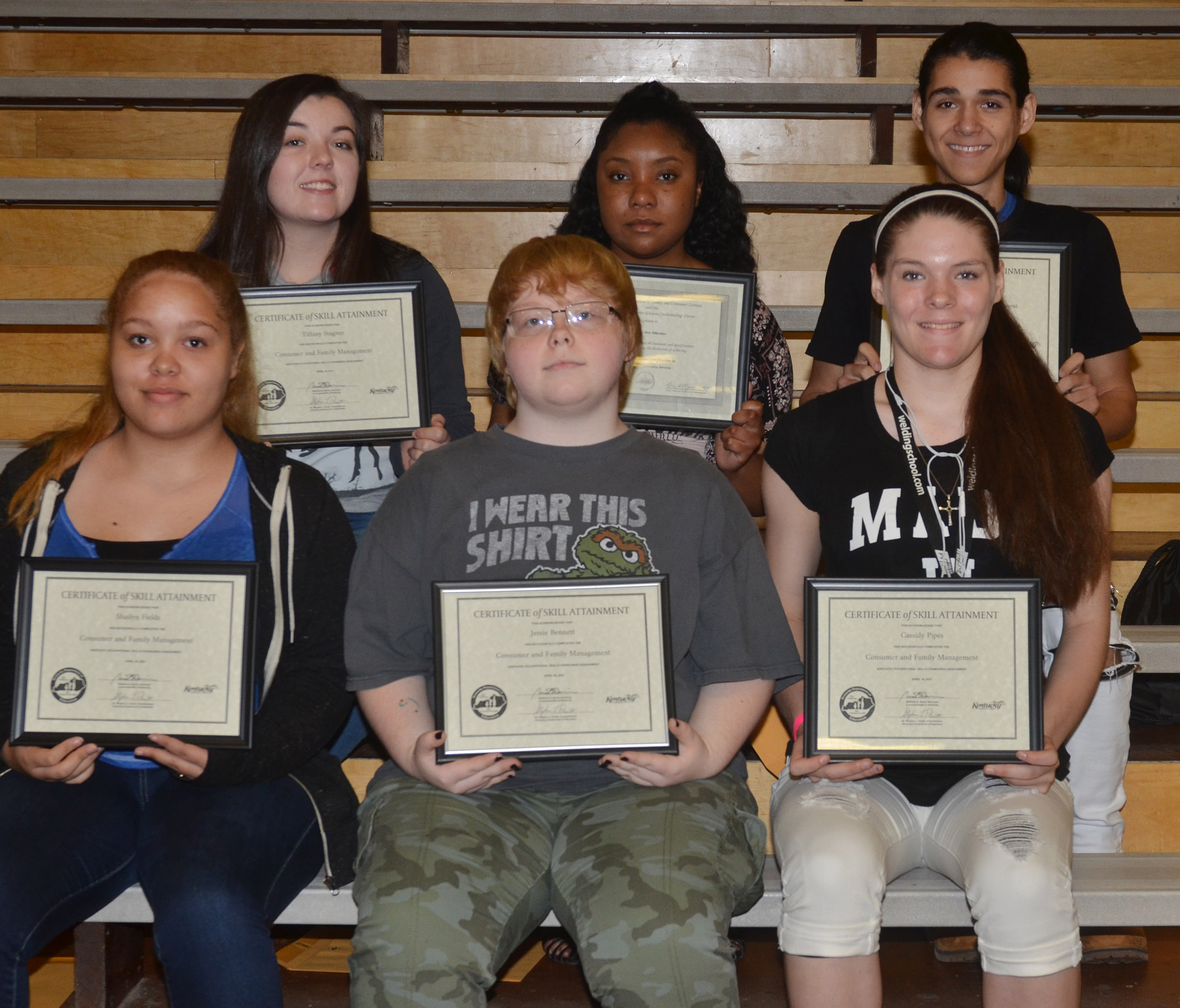 CHS students who completed the family and consumer sciences KOSSA exam this school year are, from left, front, junior Shailyn Fields and sophomores Jessie Bennett and Cassi Pipes. Back, Tiffany Stagner, senior Kayla Atkinson, who completed FCS industry certification, and senior Michael De Oliveira.