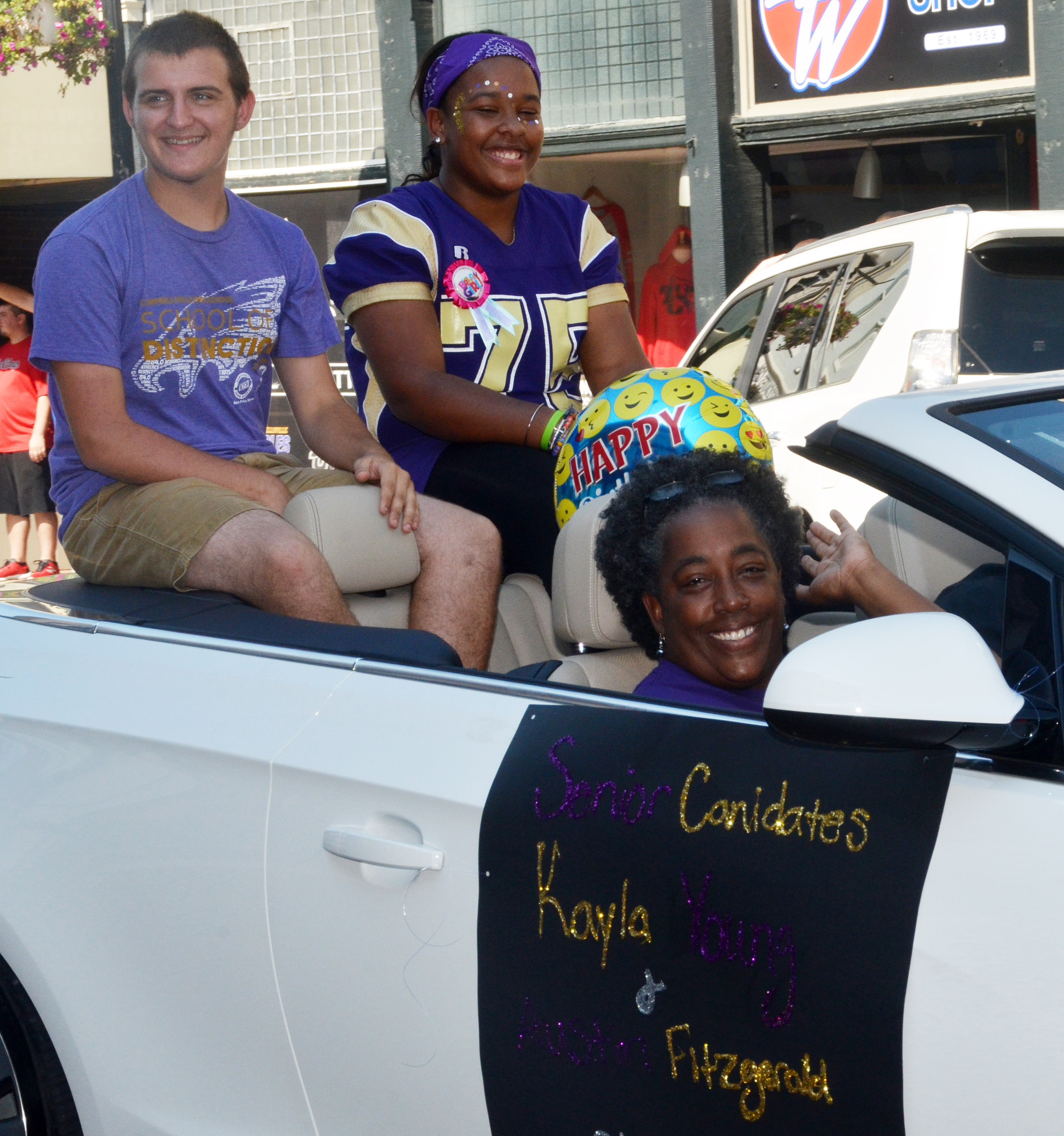 CHS senior homecoming candidates Austin Fitzgerald and Kayla Young ride in the parade.