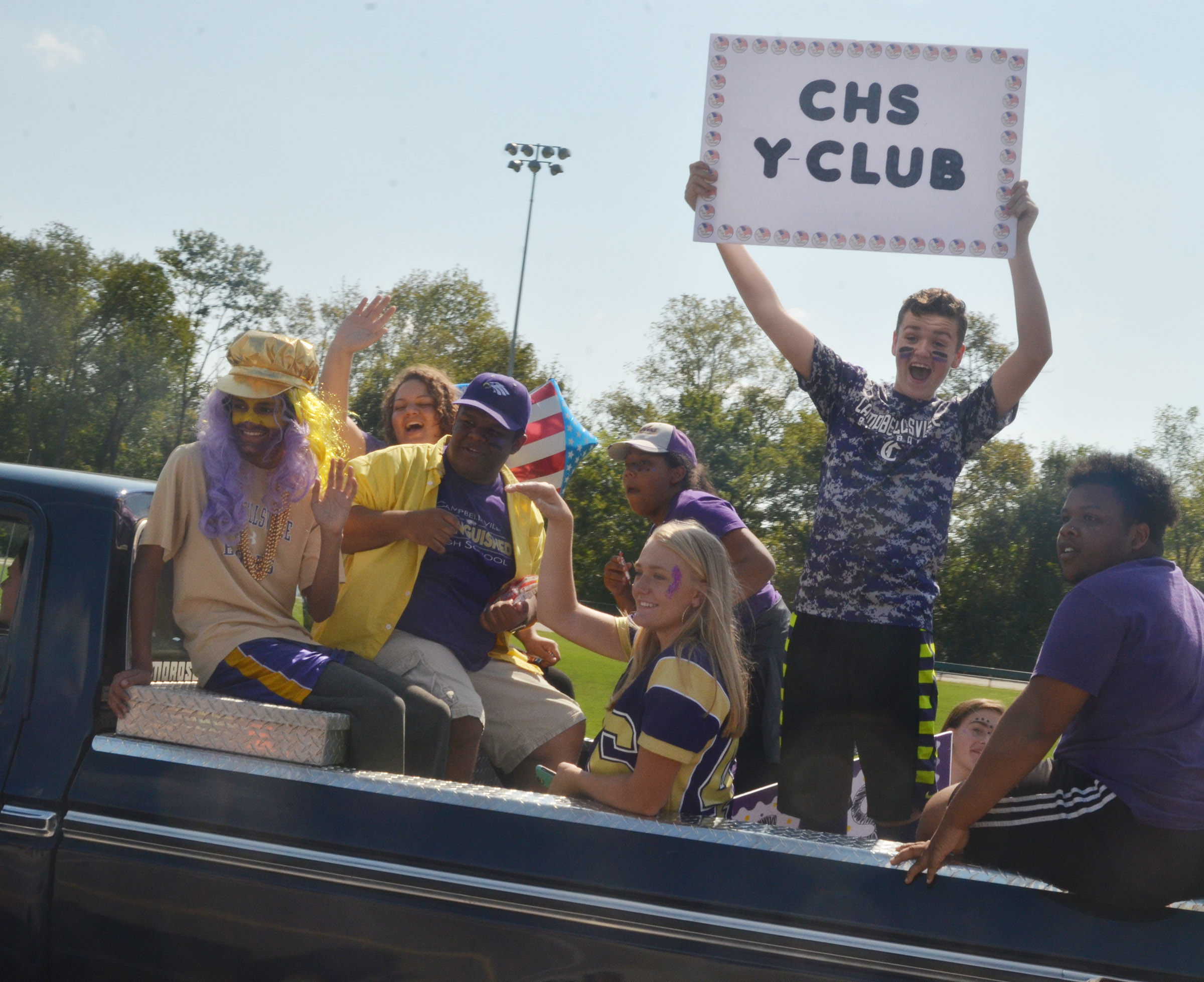 CHS Y-Club members ride in the parade.