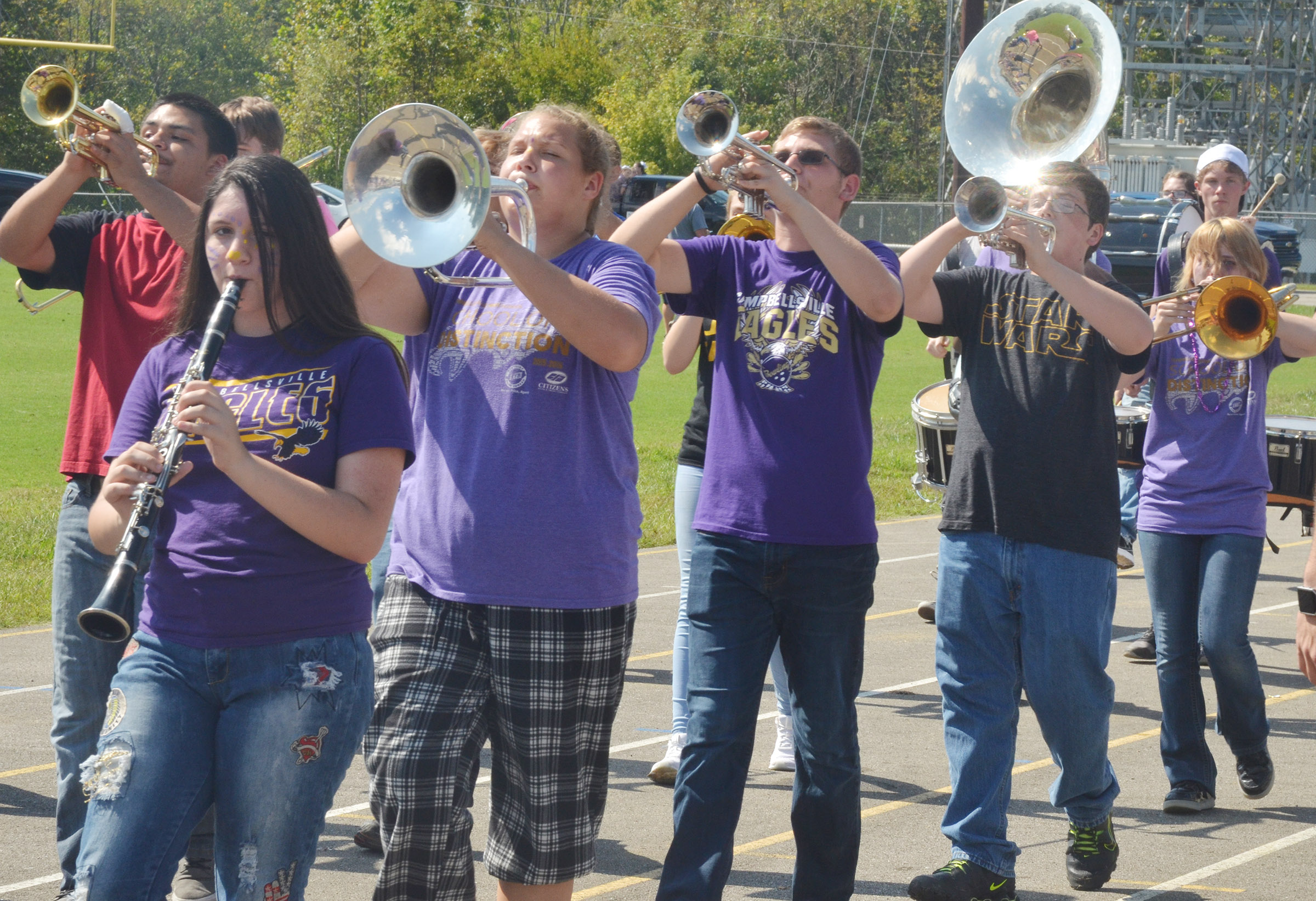 CHS band members march in the parade.