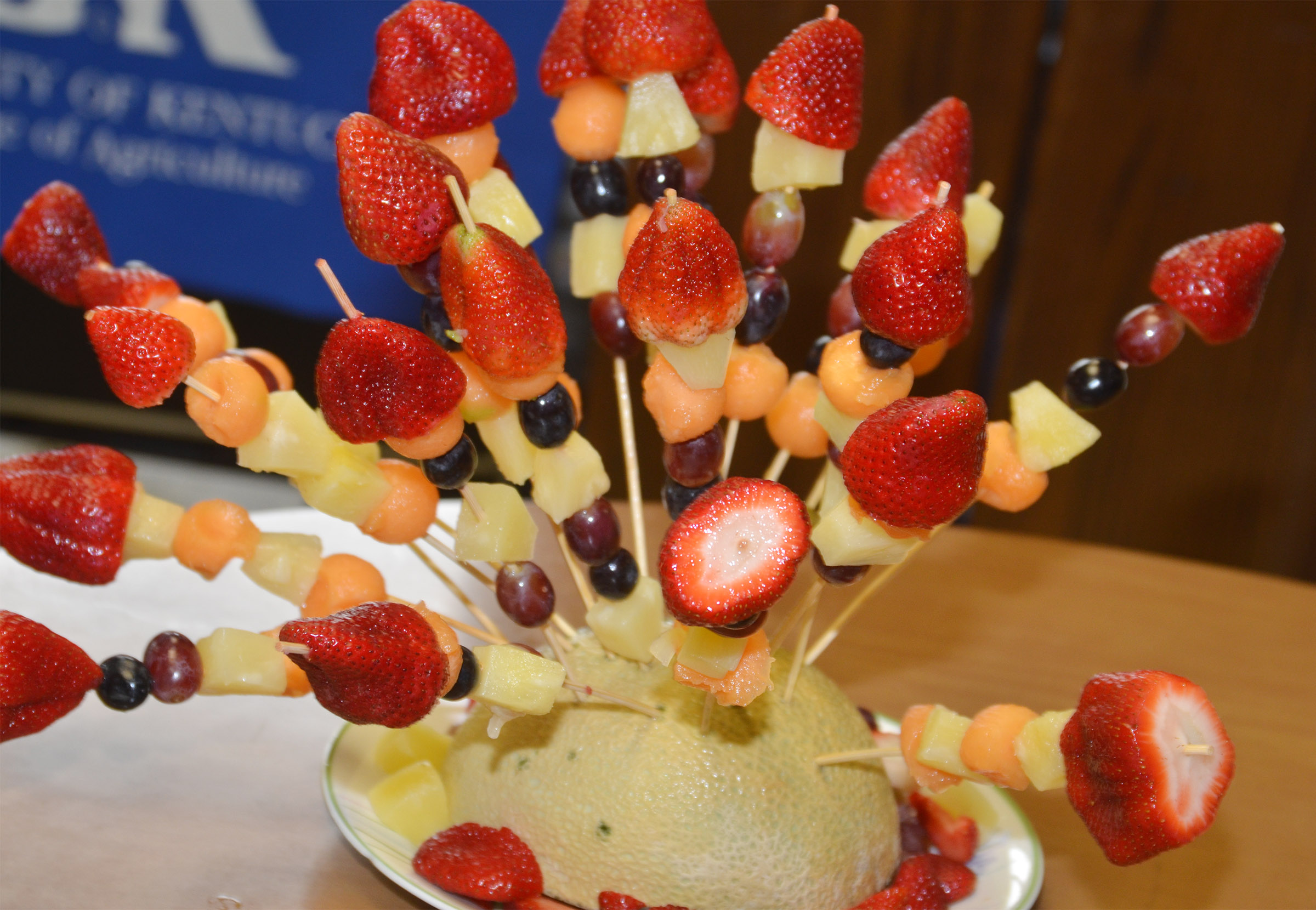 CHS students worked together to make this fruit arrangement.