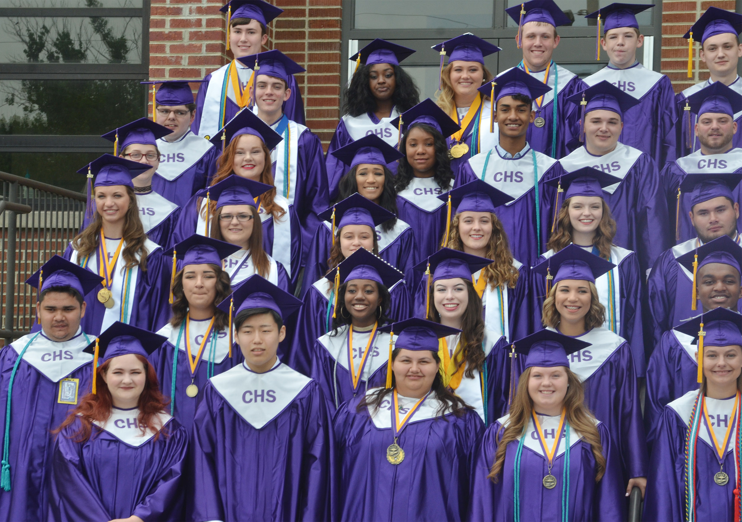 CHS seniors assemble for a group photo before graduation.