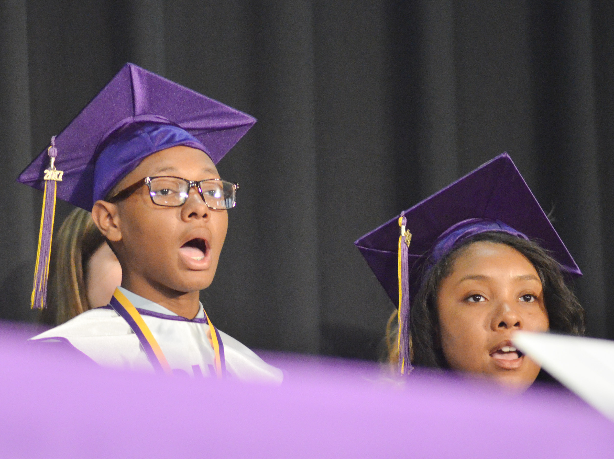 "CHS seniors Jaleel Cowan, at left, and Kayla Atkinson perform ""I Was Here"" By Lady Antebellum with the CHS choir."