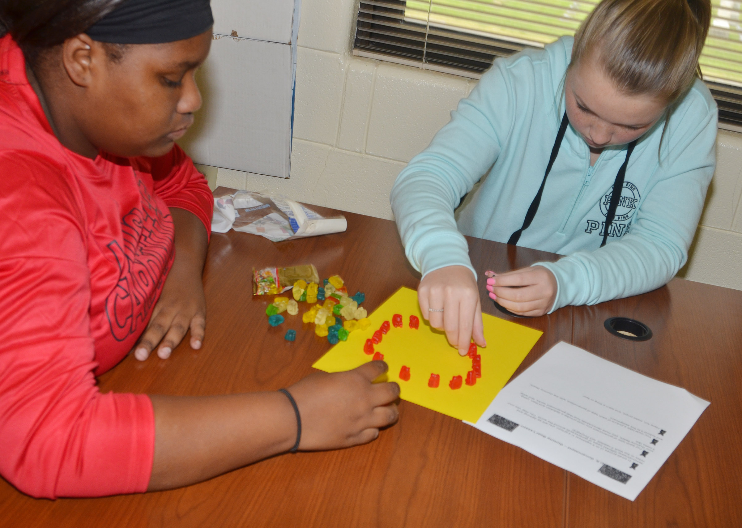 CHS sophomores Jakyia Mitchell, at left, and Kaleigh Hunt build their gummy bear government model.