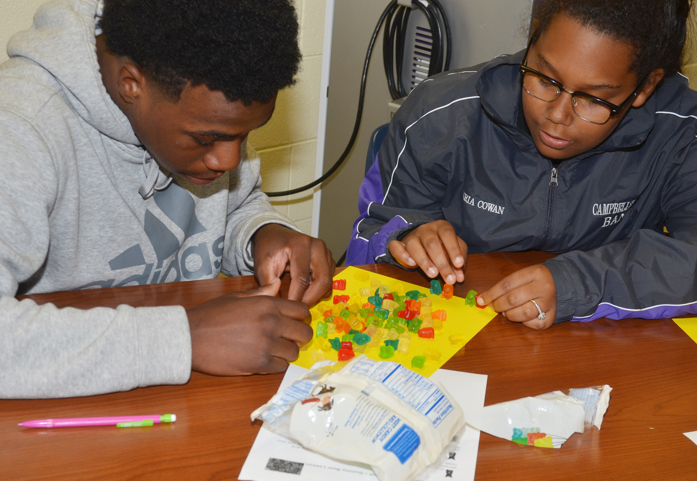 CHS sophomores Malachi Corley, at left, and Zaria Cowan build their gummy bear government model.