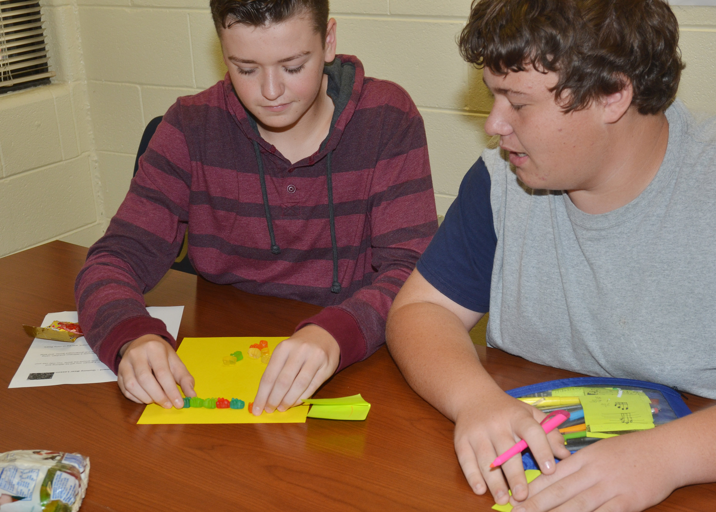 CHS sophomores Gavin Johnson, at left, and Conner Riley build their gummy bear government model.
