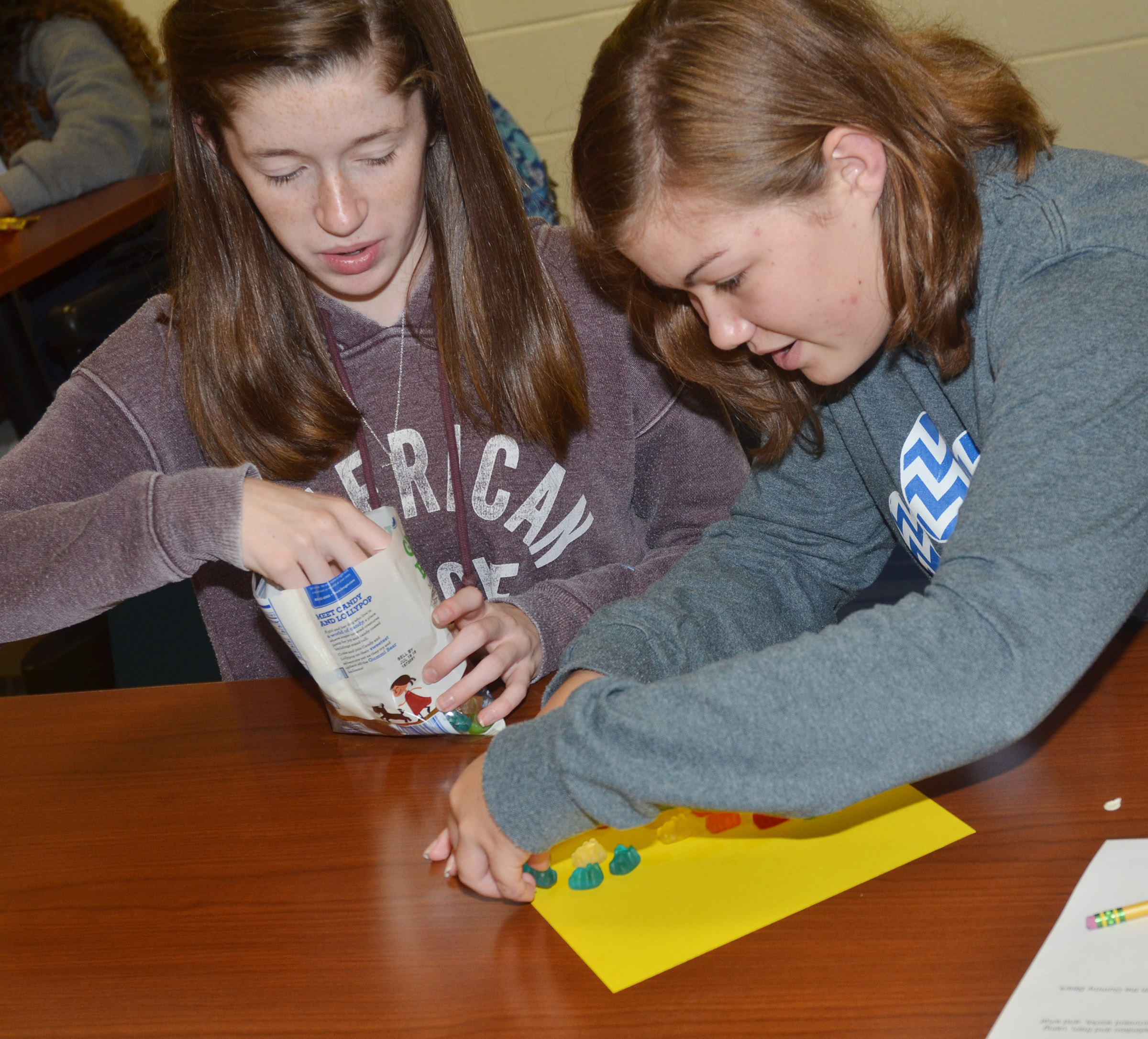 CHS sophomores Gracyne Hash, at left, and Shelby Smith build their gummy bear government model.