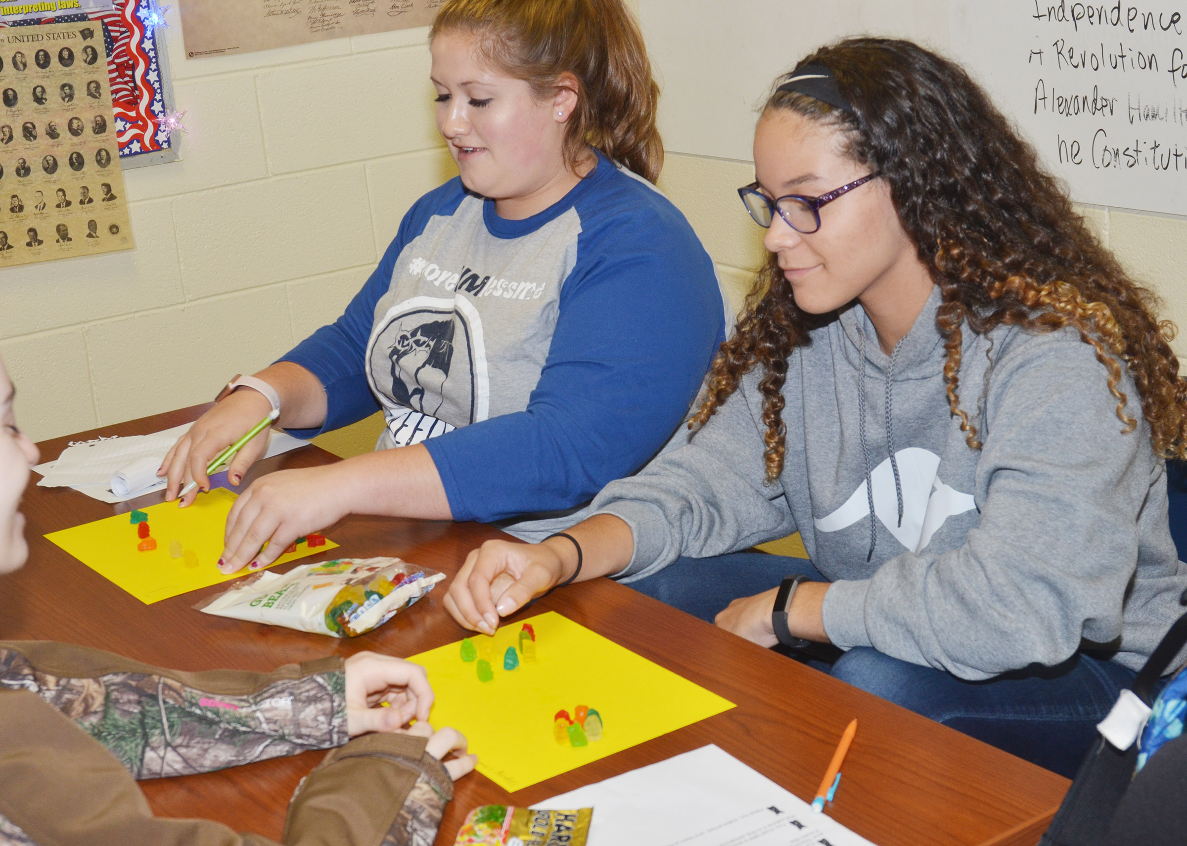 CHS sophomores Aleah Knifley, at left, and Taliyah Hazelwood build their gummy bear government models.
