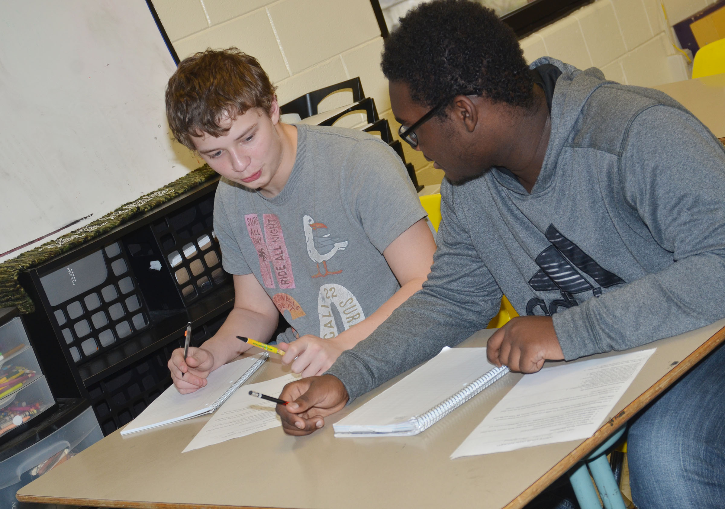 CHS freshmen Devon Reardon, at left, and Taekwon McCoy talk about their sonnets.