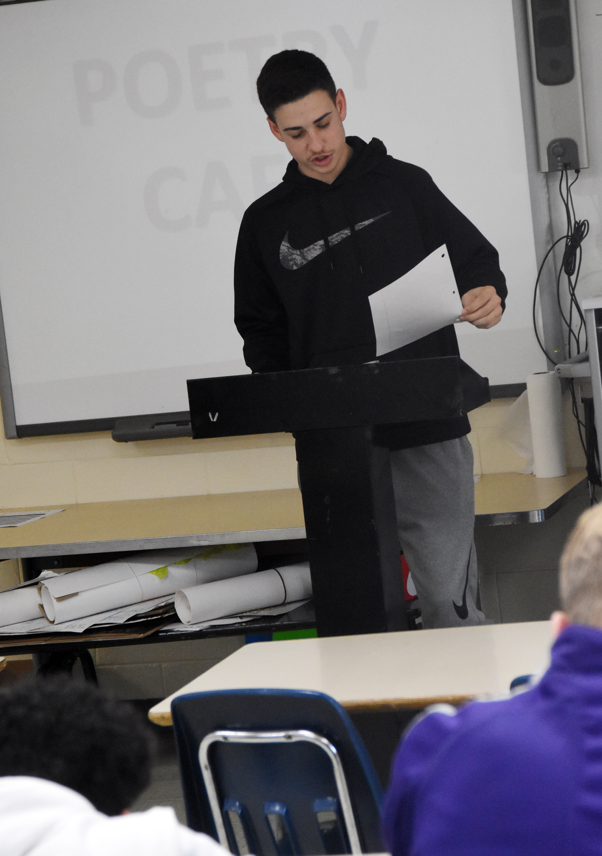 Campbellsville High School freshman John Orberson reads his poetry.