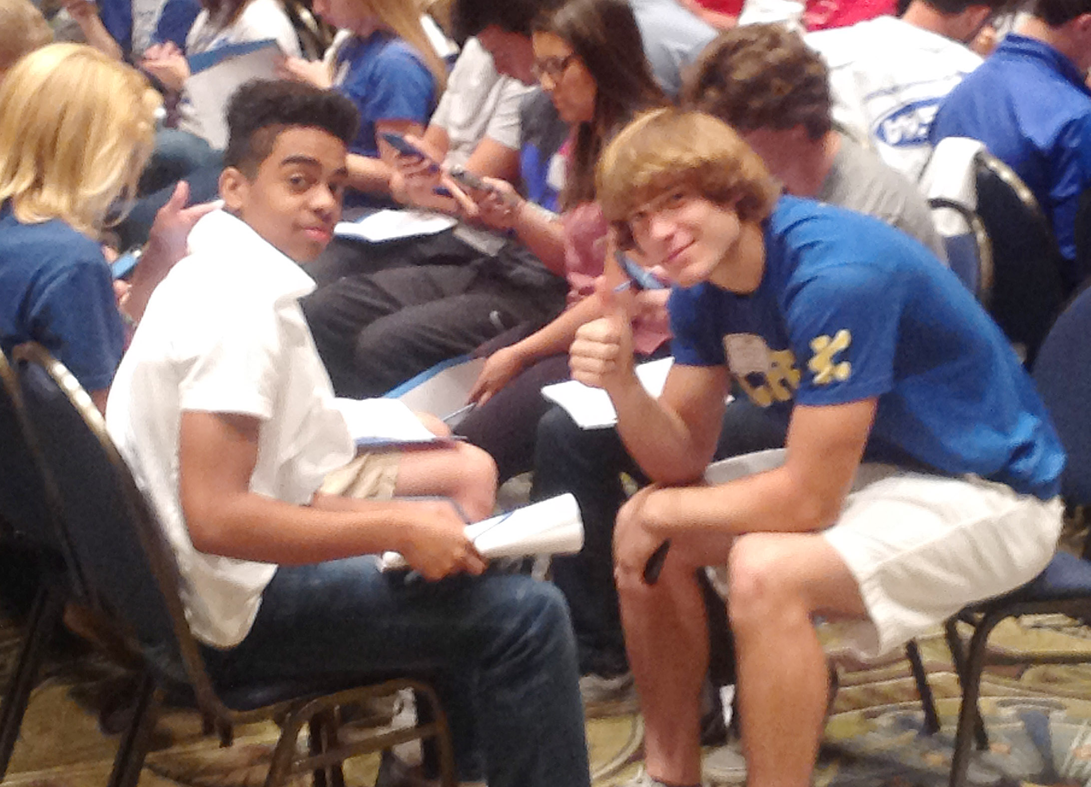 CHS juniors Davon Cecil, at left, and Tristian Johnson attend a leadership session.