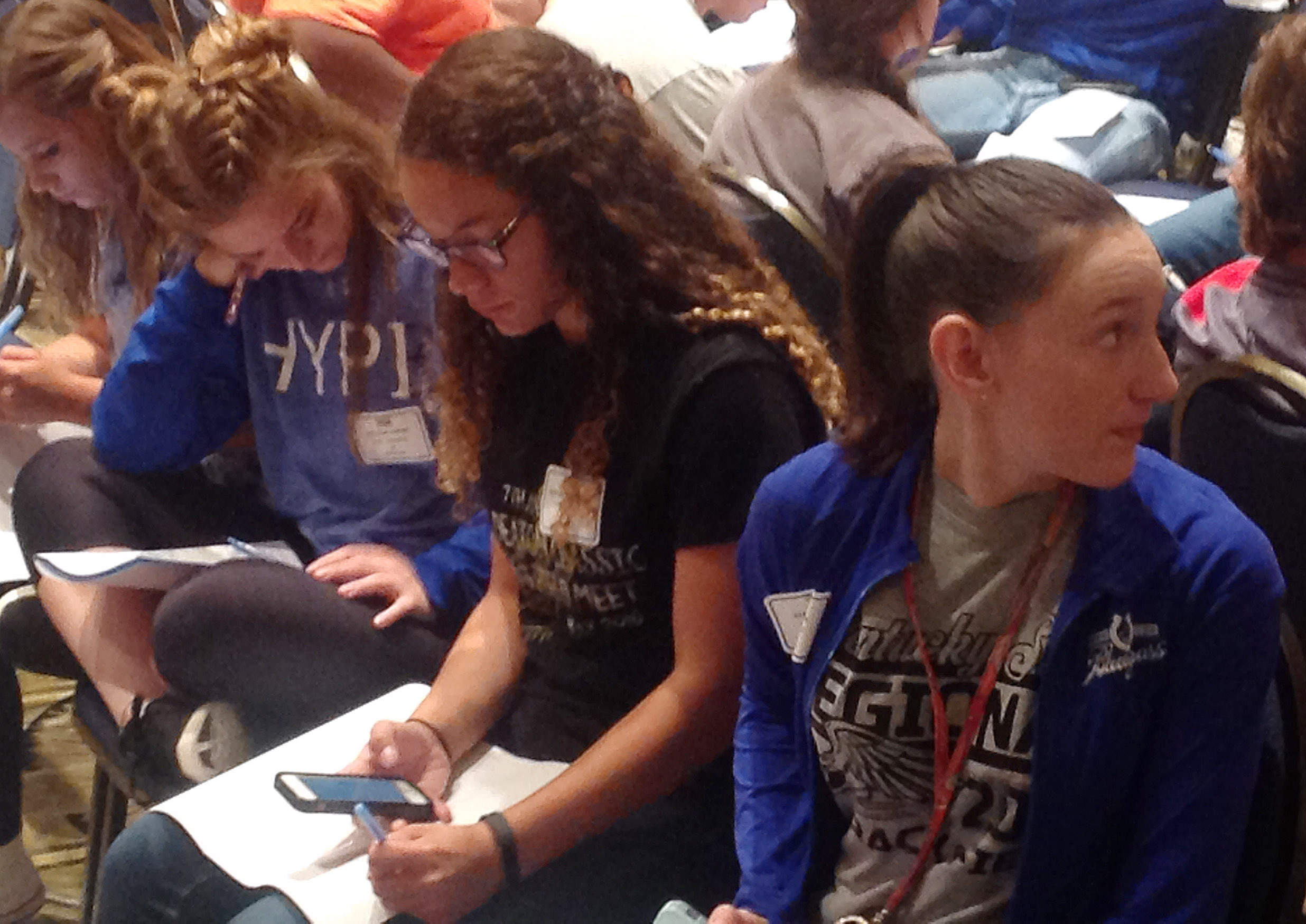 CHS sophomores Taliyah Hazelwood, at left, and Zoe McAninch attend a leadership session.