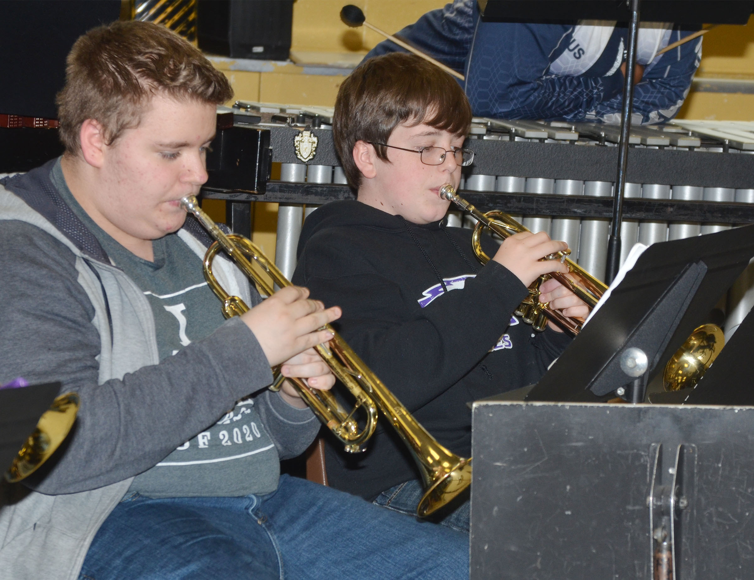 CHS freshmen Nathan Anderson, at left, and Gavin Ford play trumpet.