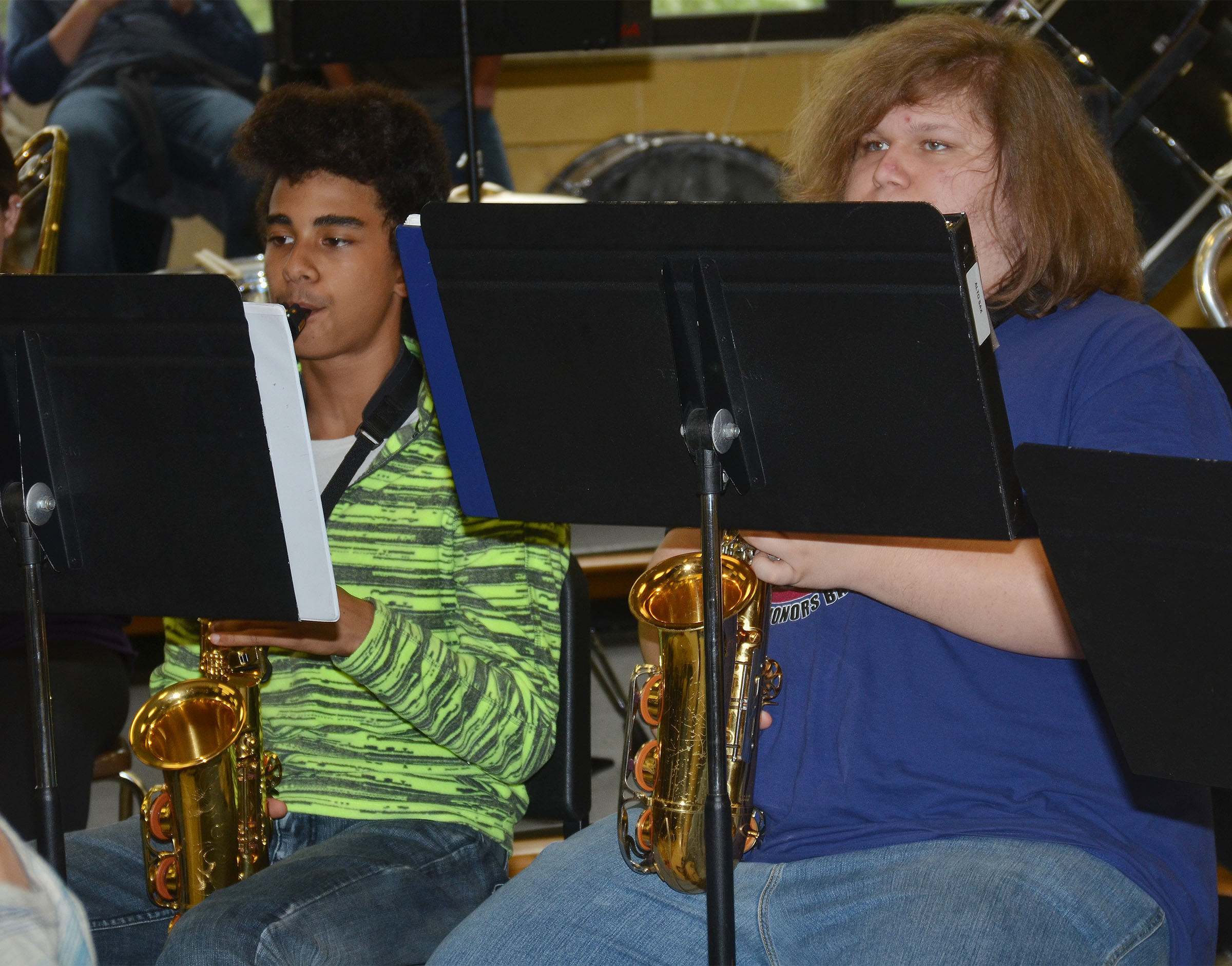 CHS freshman David Silva, at left, and sophomore Randy Harris play saxophone.