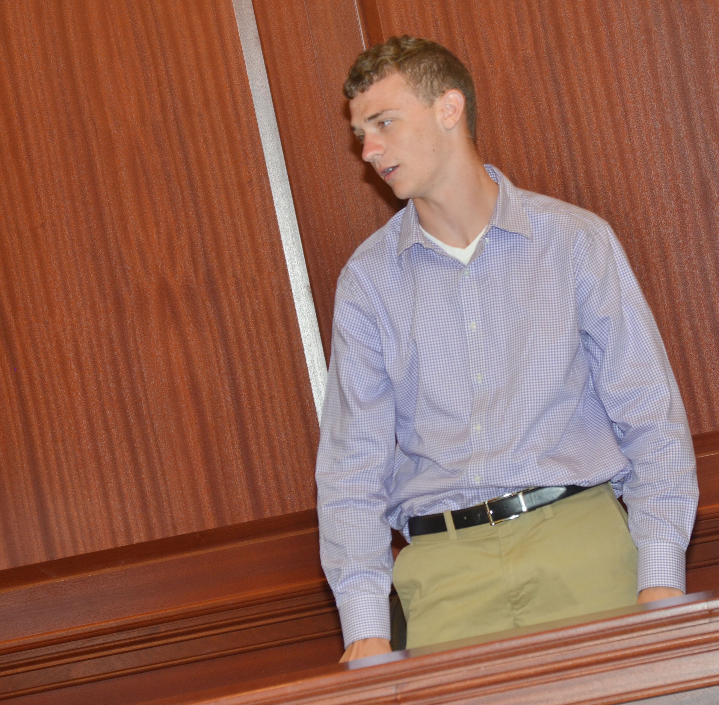 CHS junior Connor Wilson portrays a circuit court clerk during the mock trial.