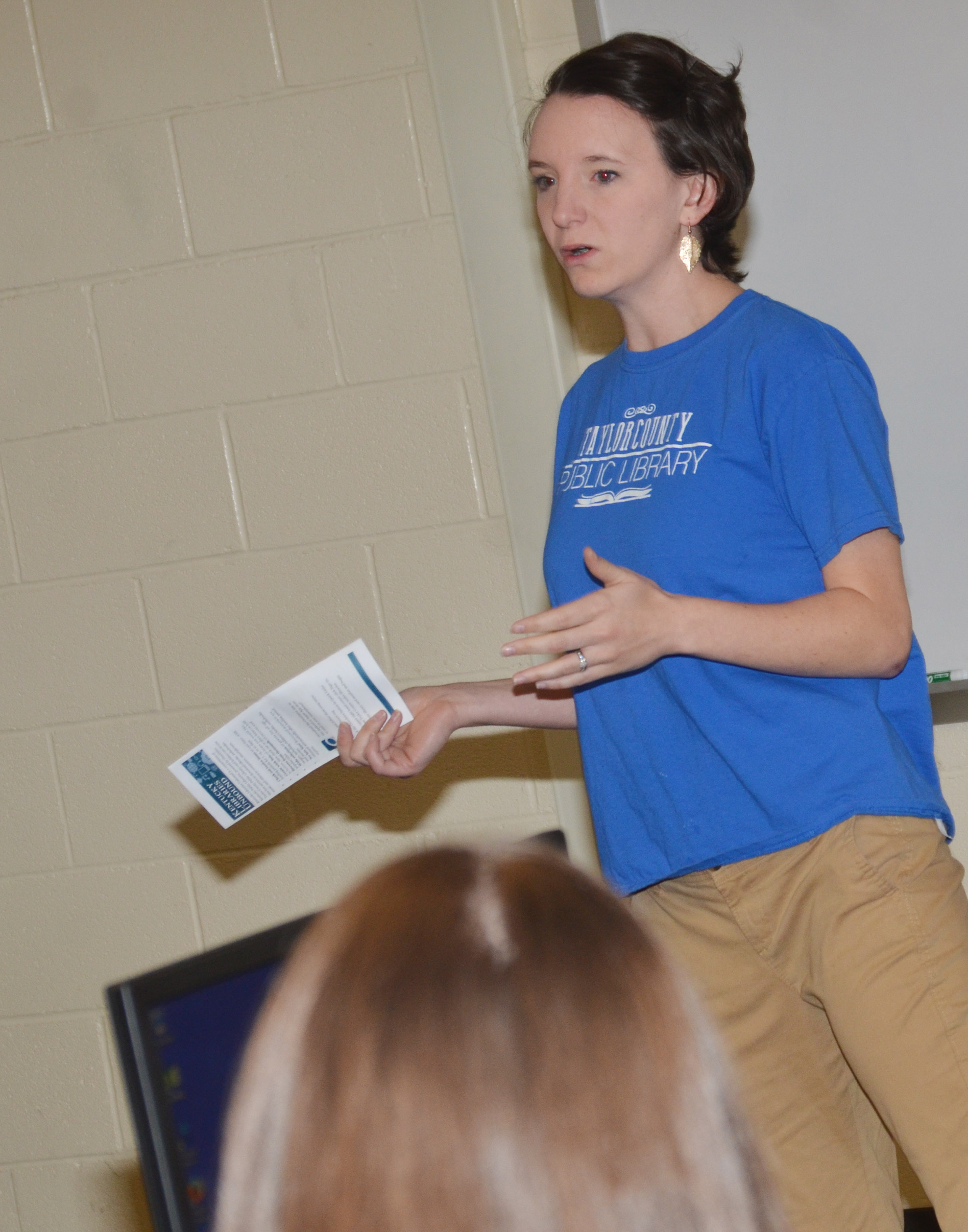Kelsie Pepper of Taylor County Public Library talks to CHS students about the free digital services the library provides.