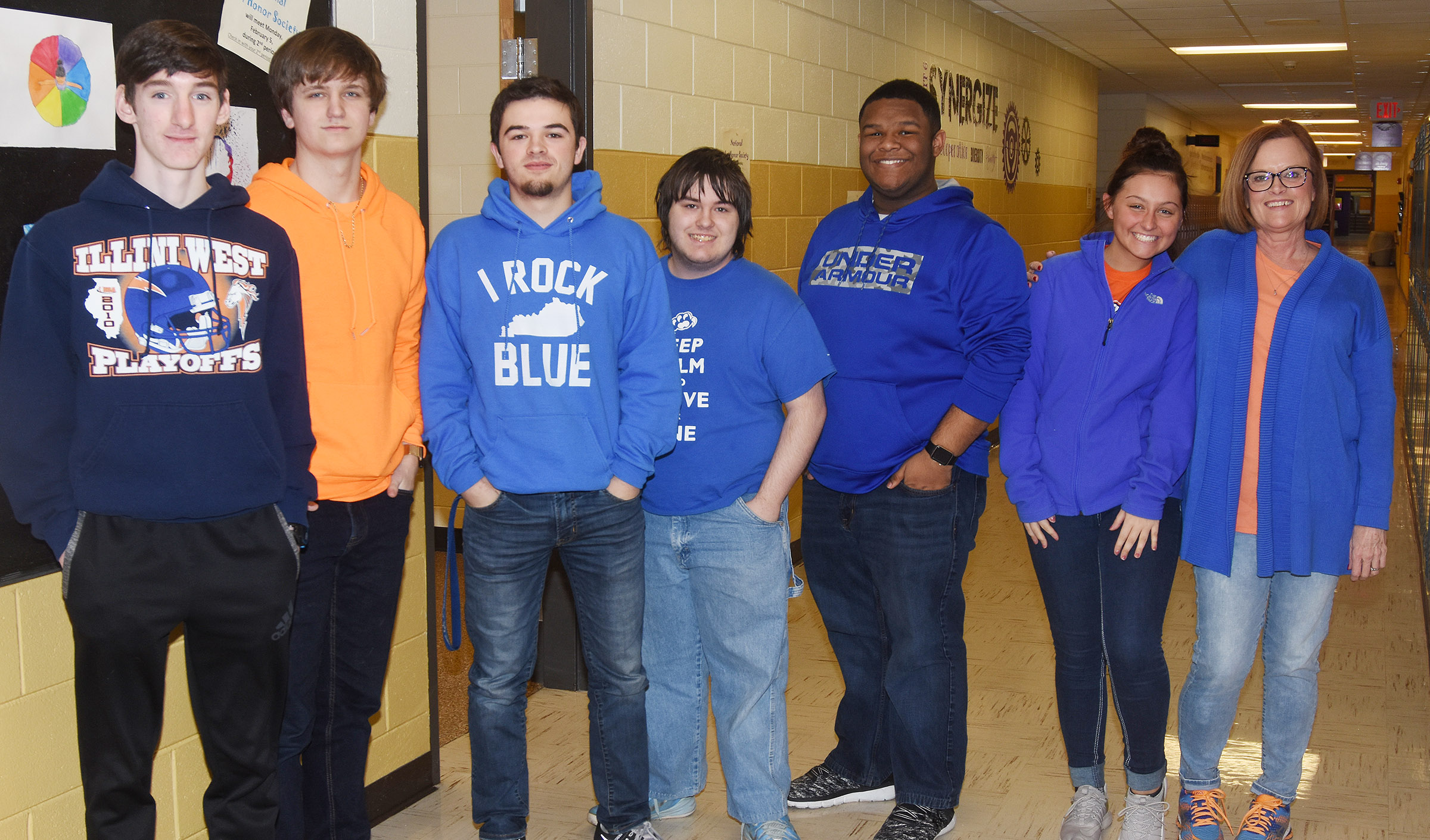 CHS students and teachers wear blue and orange in support of Marshall County High School.