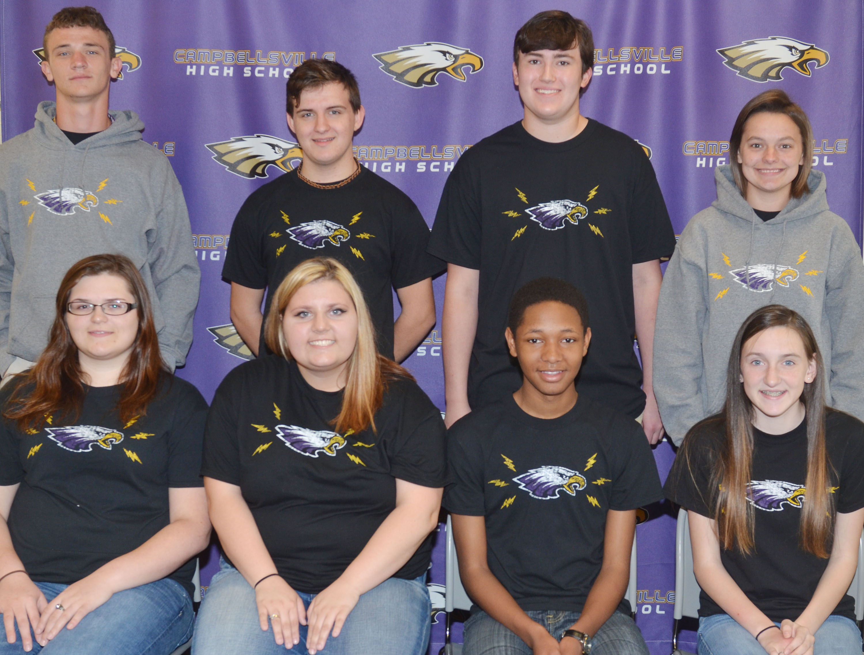 CHS Eagle News Team members for the 2016-2017 school year are, from left, front, senior Vera Brown, sophomore Andrea Bryant, senior Jaleel Cowan and freshman Zoe McAninch. Back, juniors Connor Wilson and Austin Fitzgerald and seniors Zack Settle and Kyrsten Hill.