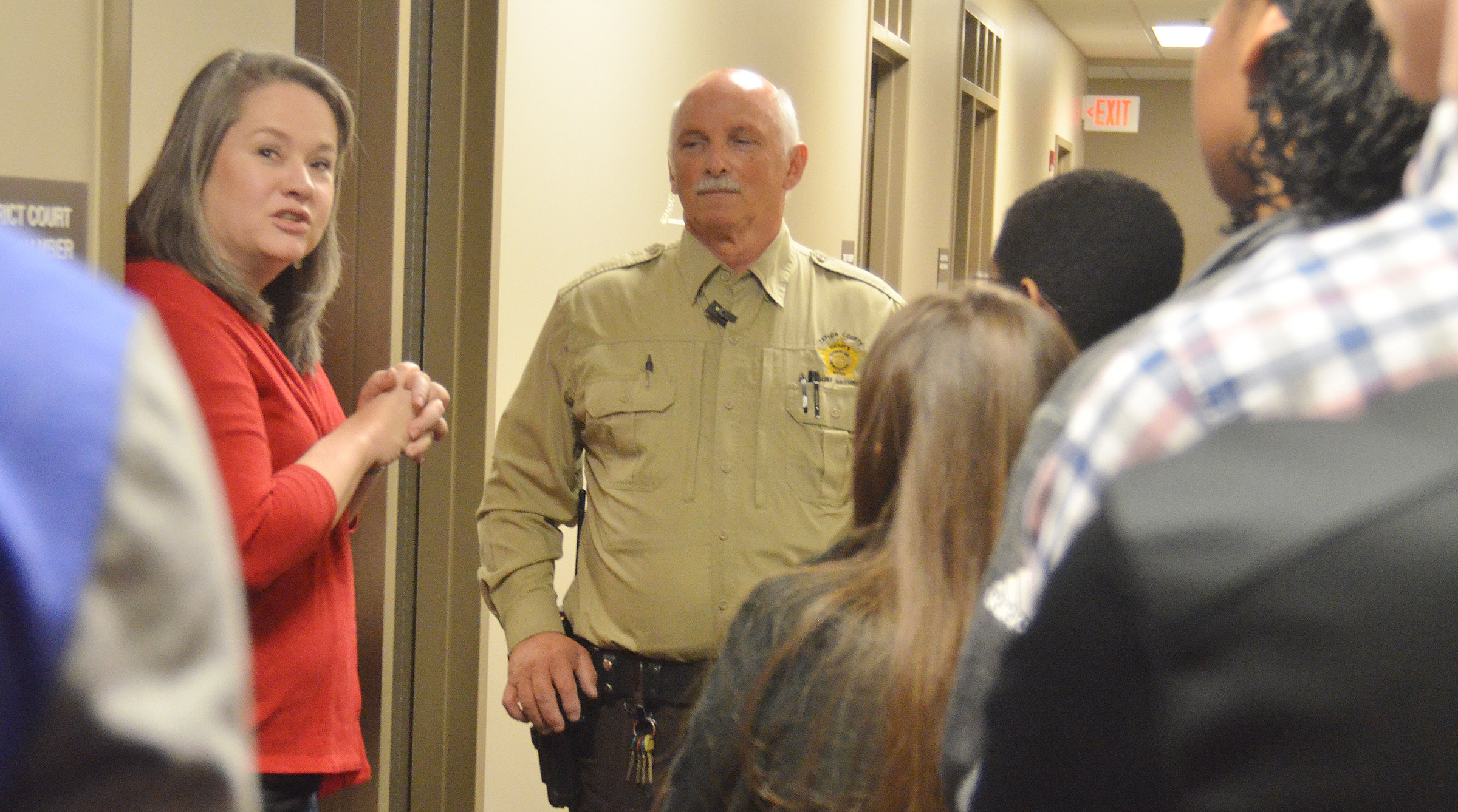 Taylor County District Court Judge Amy Anderson and Kenny Anderson, a security officer at Taylor County Judicial Center, talk to CHS sophomores about criminal court.