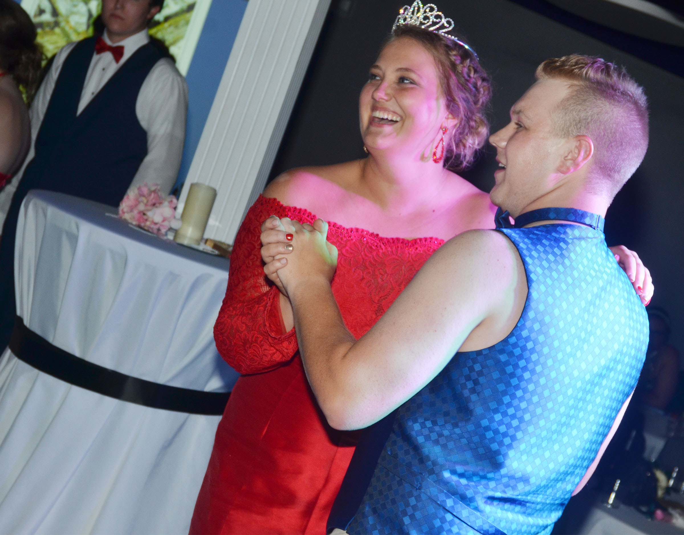 CHS prom king and queen Noah Wagers and Brenna Wethington, seniors, dance.