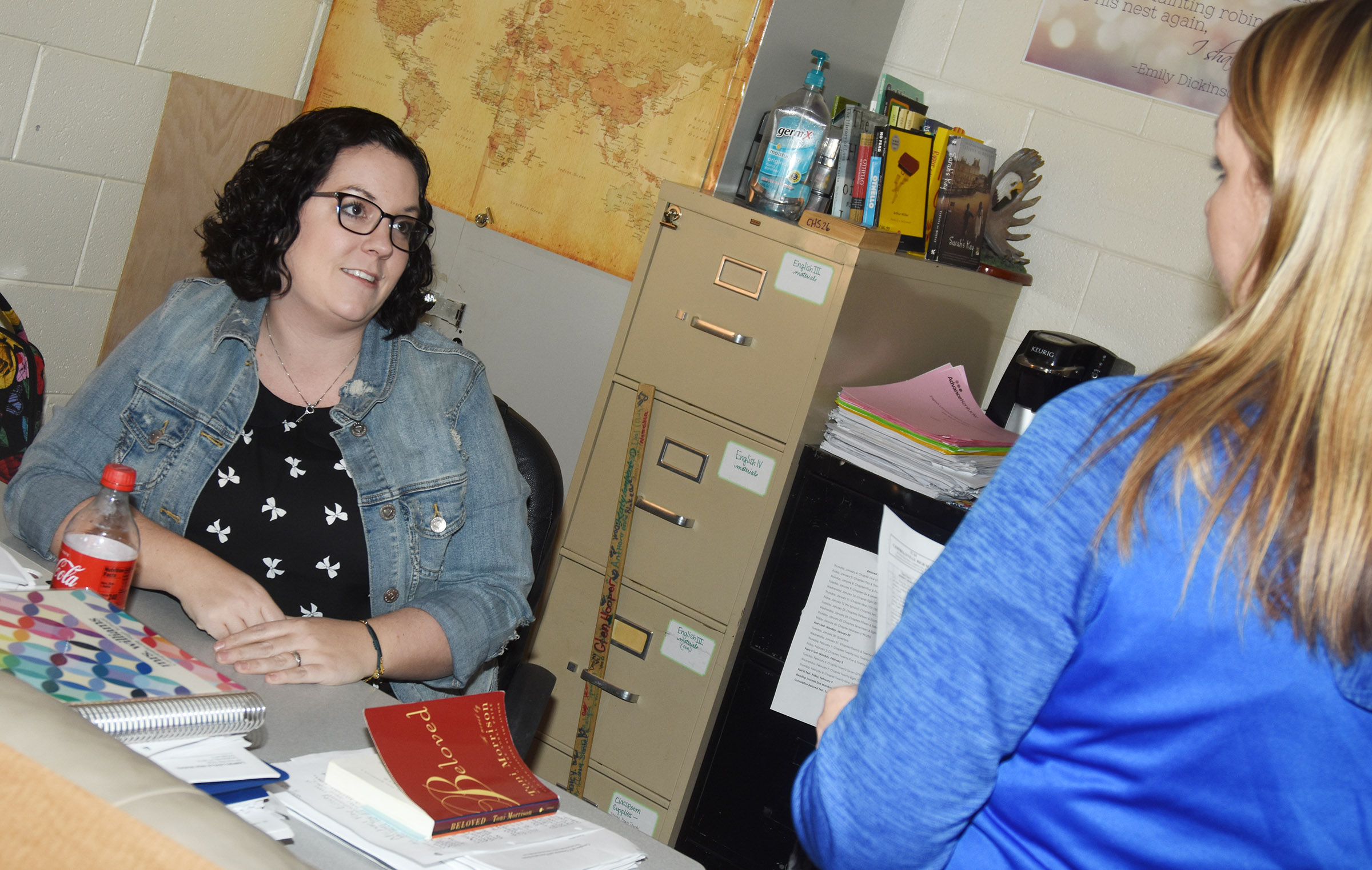 CHS teacher Lindsay Williams talks with parent and Campbellsville Elementary School teacher Amanda Greer.