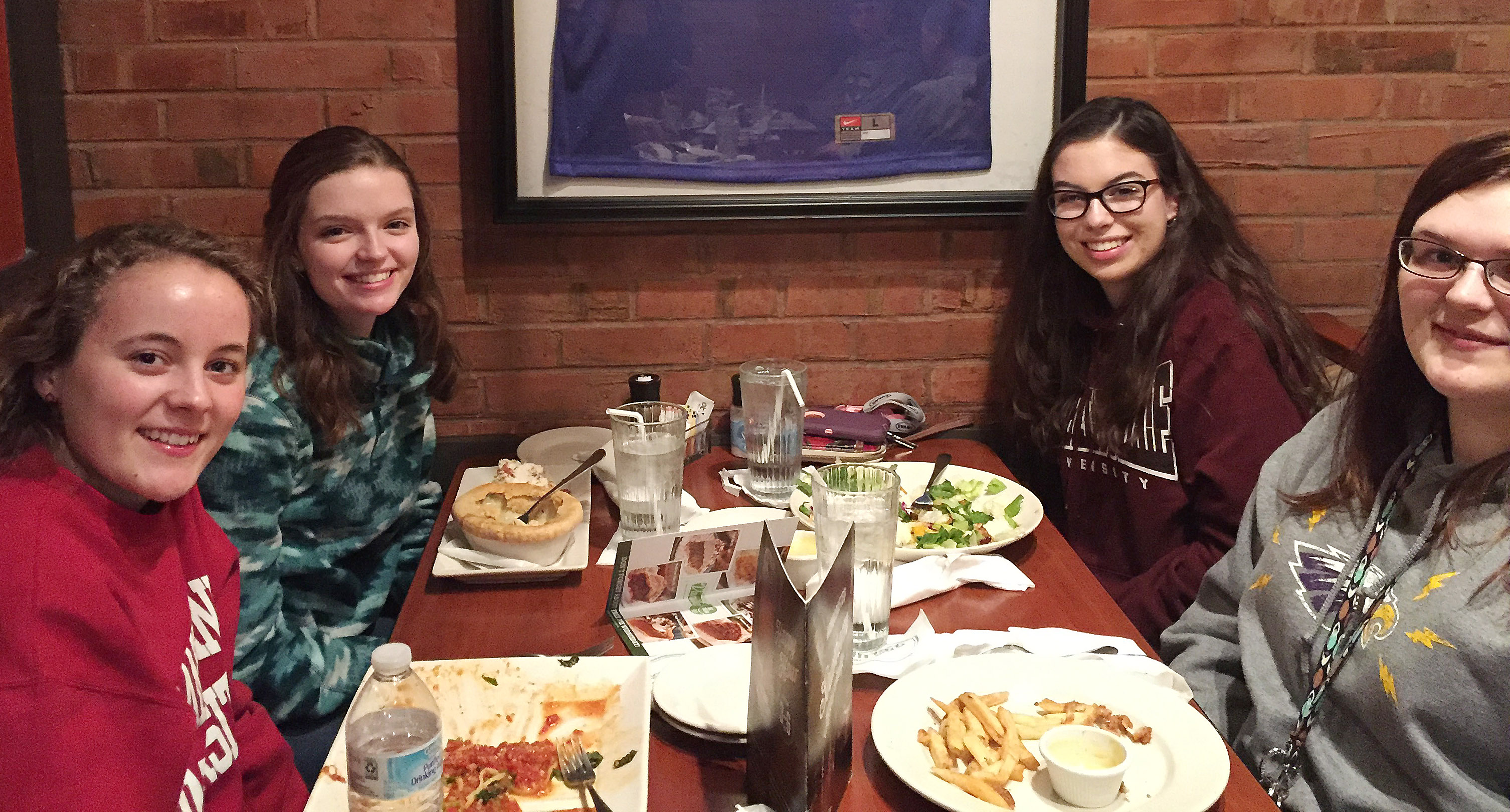 CHS seniors, from left, Caroline McMahan, Blair Lamb, Laura Lamb and Vera Brown have dinner.