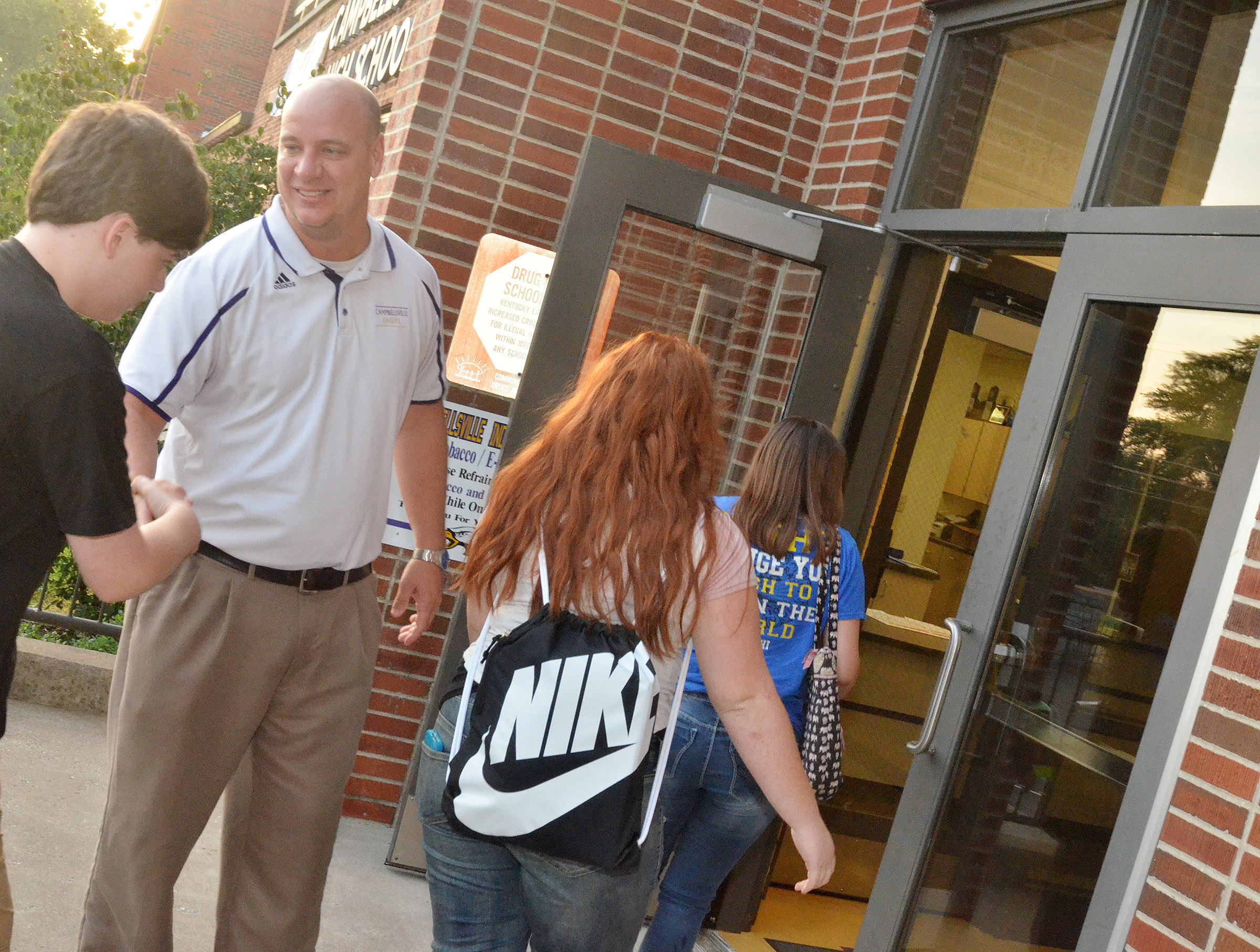 CHS Principal David Petett greets students on their third day of school.