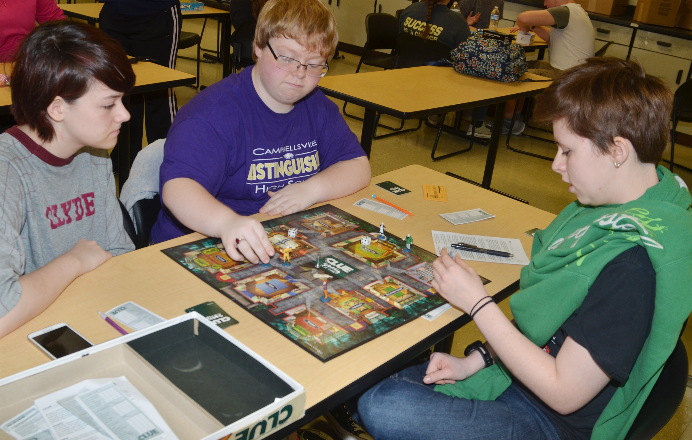 CHS sophomores Chloe Decker, Jessie Bennett and Christina Phipps play Clue.