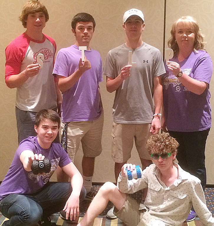 CHS students were named state champions in the Sphero Hero competition. Team members include, from left, front, CHS freshman Cole Kidwell and sophomore Jackson Hinton. Back, sophomores Tristan Johnson, Ryan Kearney and Layton Hord and STLP sponsor Sonya Kessler. Absent from the photo is junior Cody Davis.