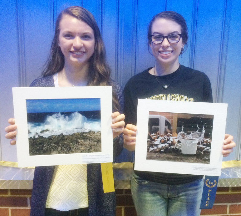 Laura Lamb, at right, a senior, is a state champion in the digital photo competition. Caylie Blair, also a senior, received third place.