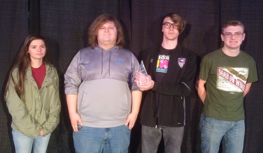 "From left, CHS senior Shauna Jones, sophomore Randy Harris, junior Christian Berry and senior Ben Rafferty were named State Level 3 finalists in Project Showcase, entitled ""Minecraft Circuitry and Logic Gates."""