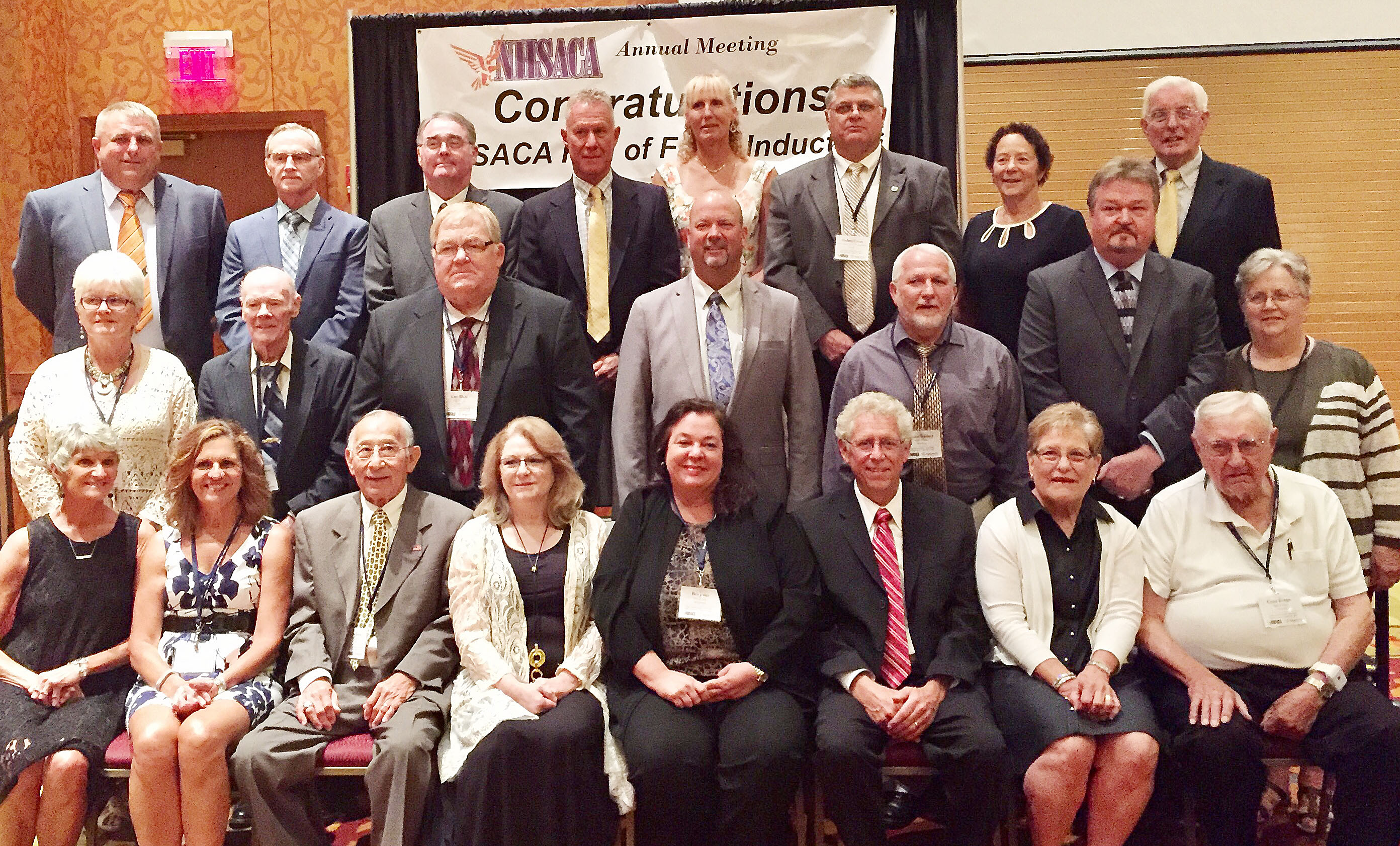 Campbellsville High School boys' head basketball coach and athletic director Tim Davis was inducted into the National High School Athletic Coaches Association Hall of Fame on Tuesday, June 20, for his longevity and service to high school athletics. Above, Davis poses for a photo with all the inductees. He is pictured in the second row, fourth from left.