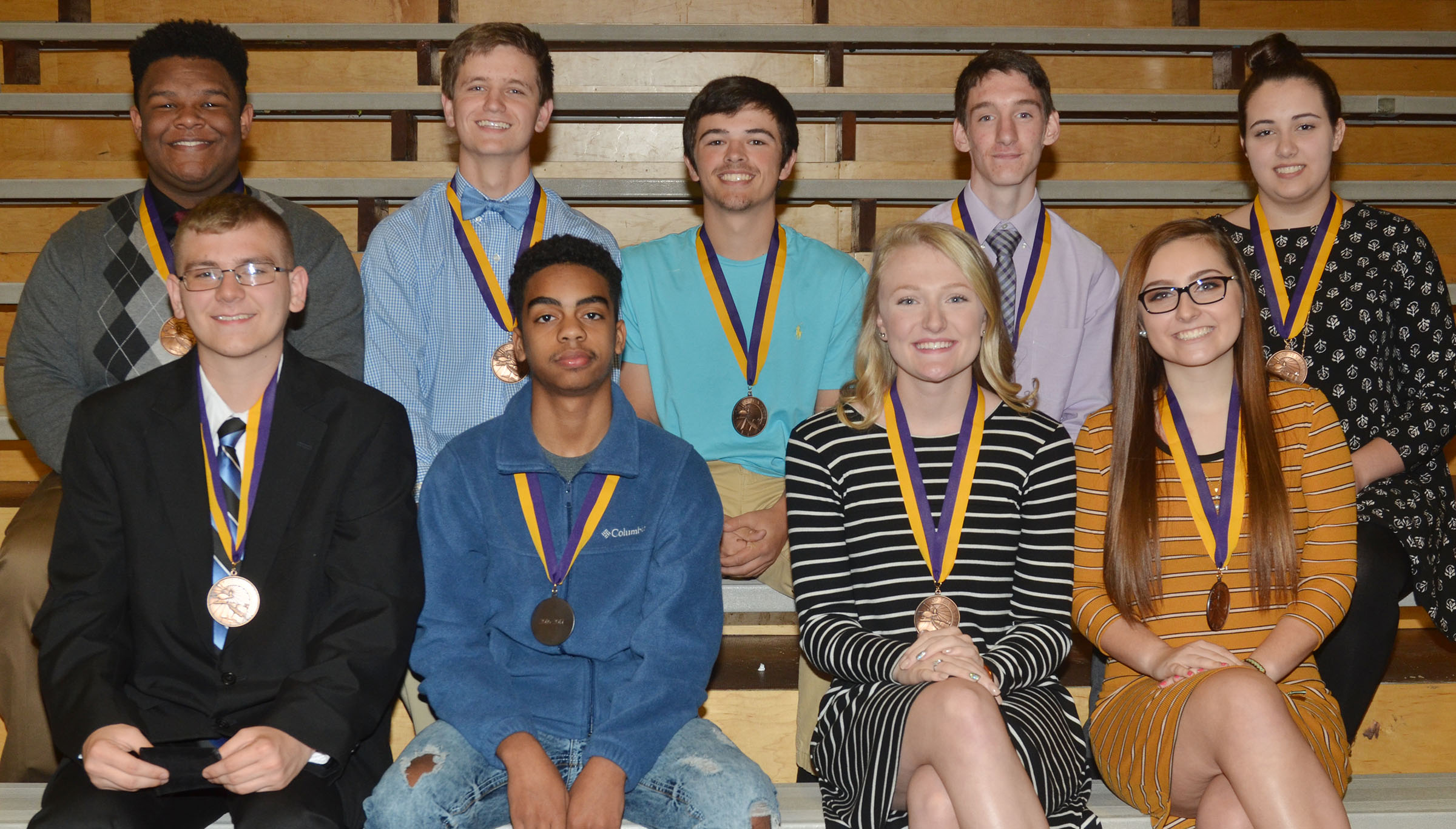 CHS sophomores honored at this year's Top 10 percent banquet are, from left, front, Brandon Greer, Davon Cecil, Abbie Dicken and Reagan Knight. Back, Jeremiah Jackson, Myles Murrell, Ryan Kearney, Ian McAninch and Elizabeth Sullivan.