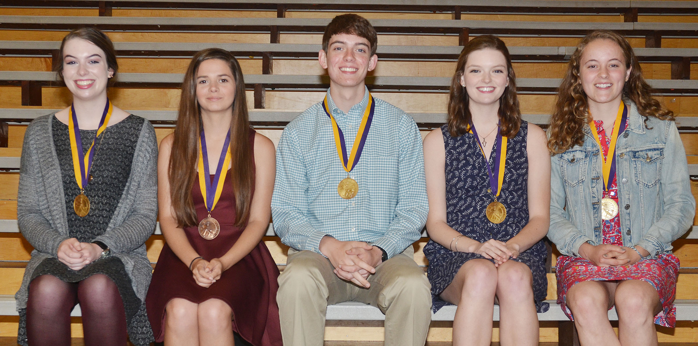 CHS seniors honored at this year's Top 10 percent banquet are, from left, Laura Lamb, Shauna Jones, Murphy Lamb, Blair Lamb and Caroline McMahan. Absent is Tiffany Stagner.