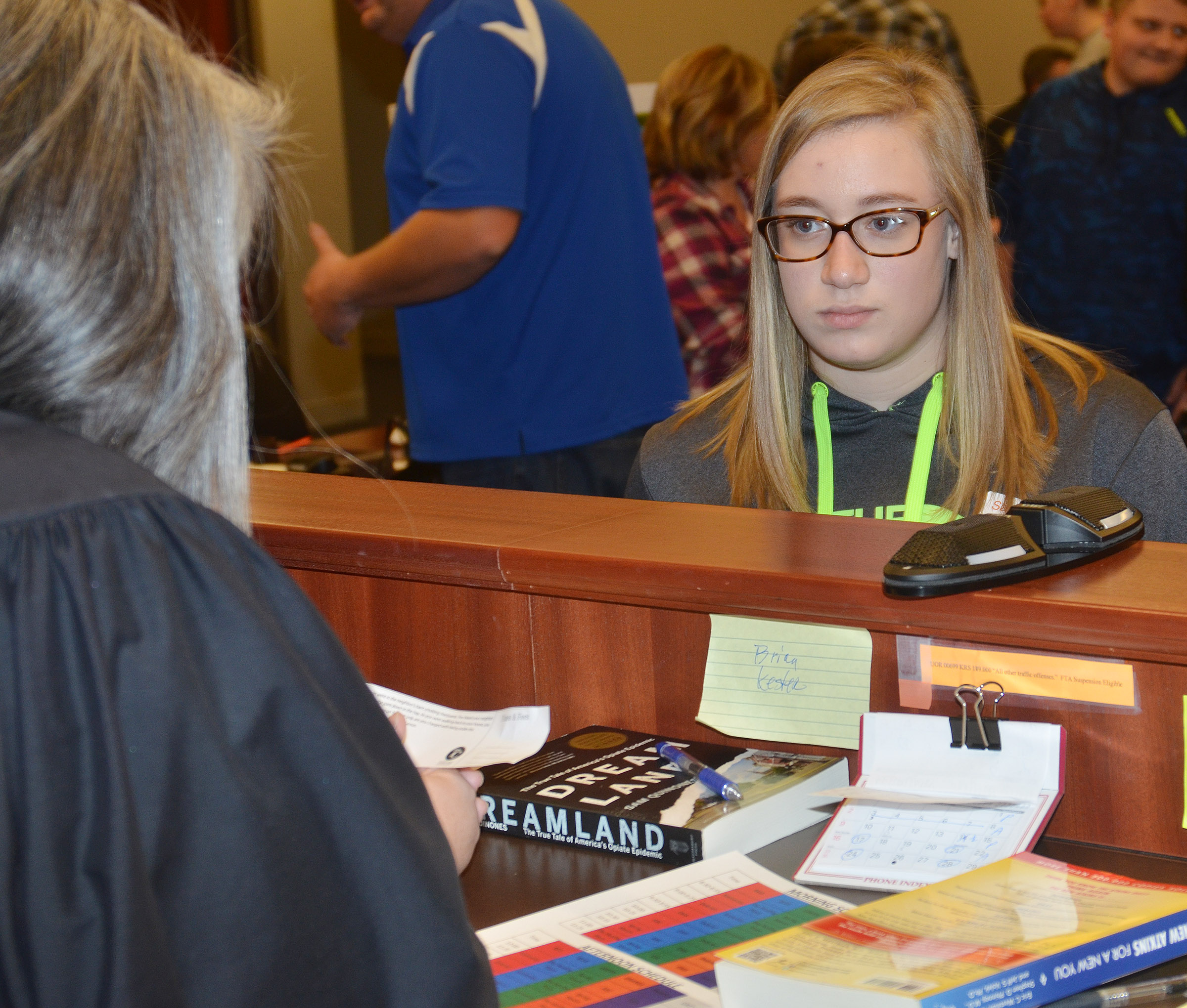 "CHS freshman Samantha Johnson meets with Taylor County District Court Judge Amy Anderson as part of the ""Truth or Consequences"" scenario."