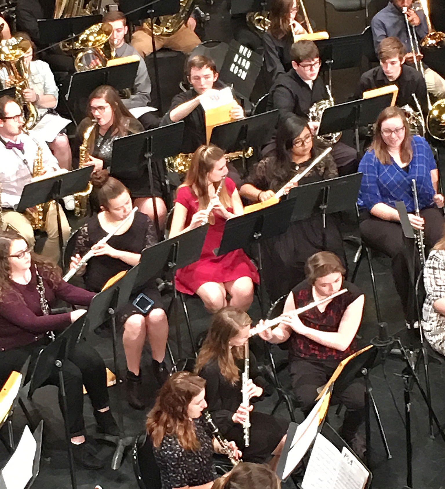 CHS senior Tiffany Kane, second row, third from left, plays flute at the Western Kentucky University Honors Band Clinic.