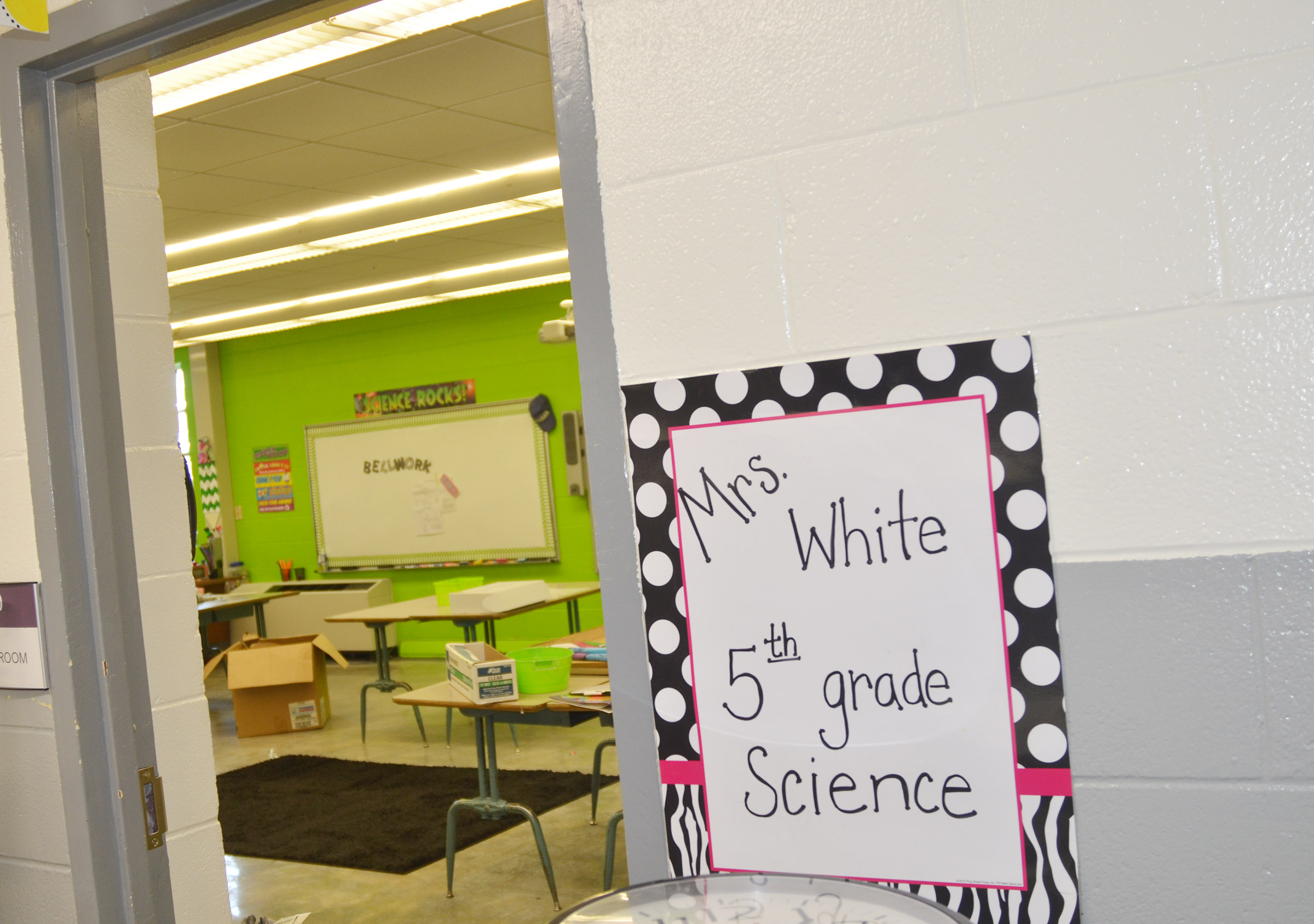CES teacher Donna White prepares her classroom for the new school year.