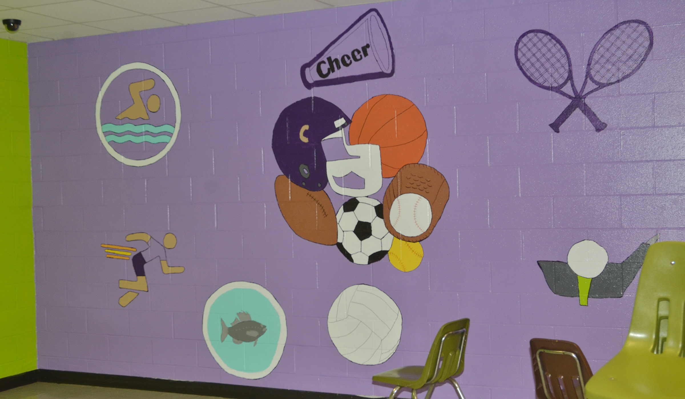 Cafeteria workers painted the walls in the CMS/CHS cafeteria this summer, like this one.